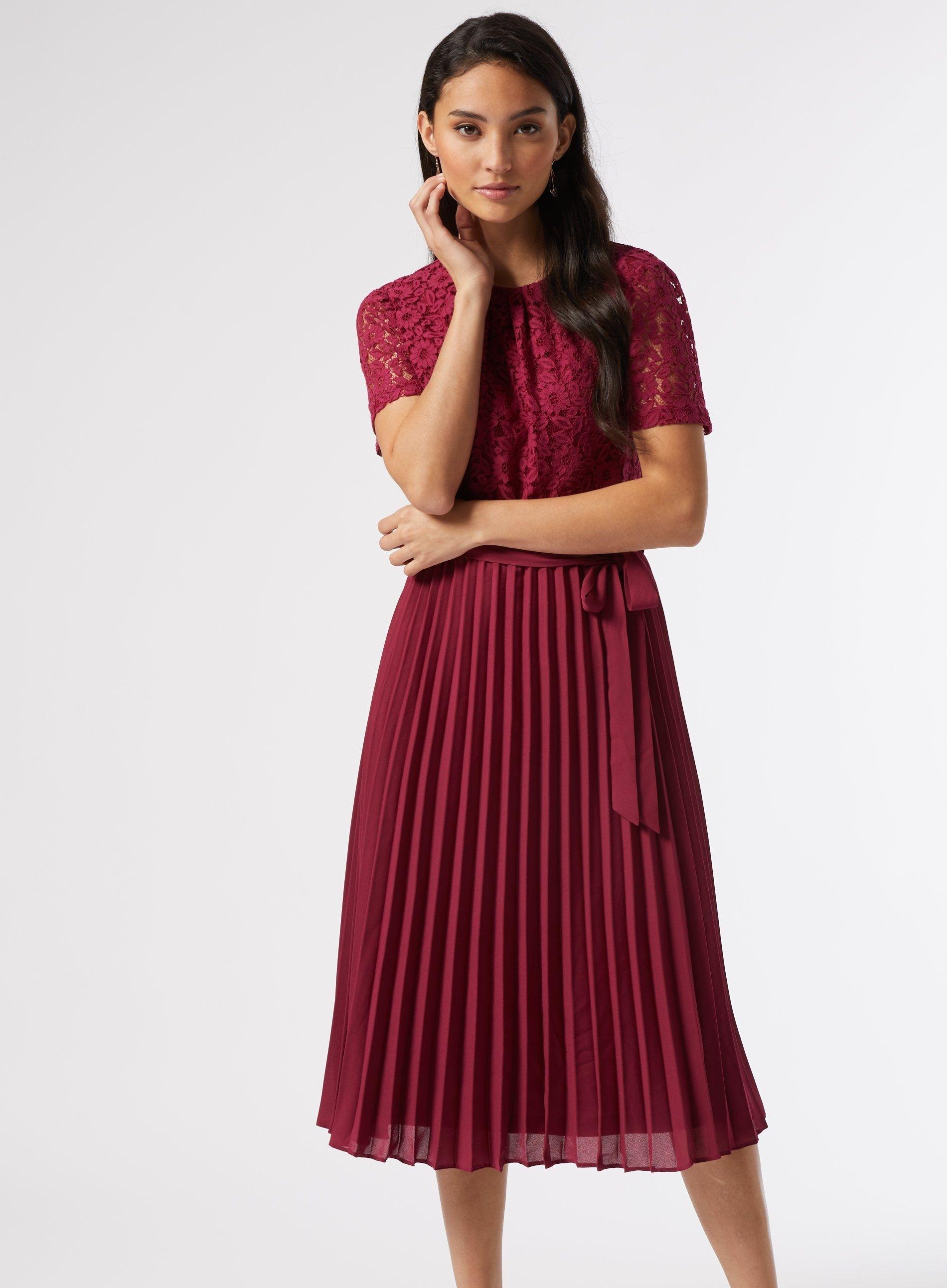 Dorothy Perkins Womens Petite Purple Alice Pleated Midi Dress Short Sleeve