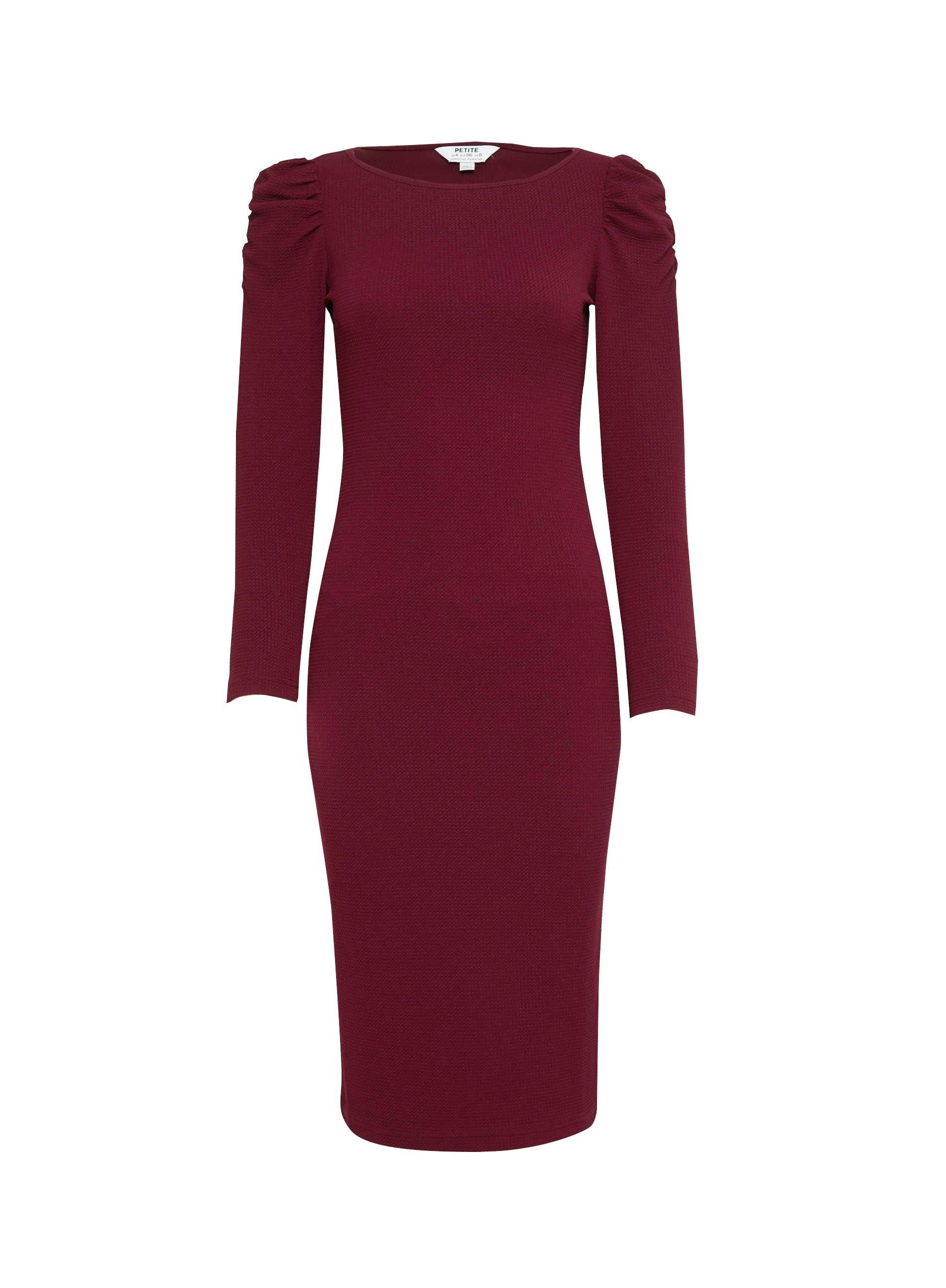 Dorothy Perkins Womens Petite Purple Ruched Sleeve Bodycon Dress Long Sleeve