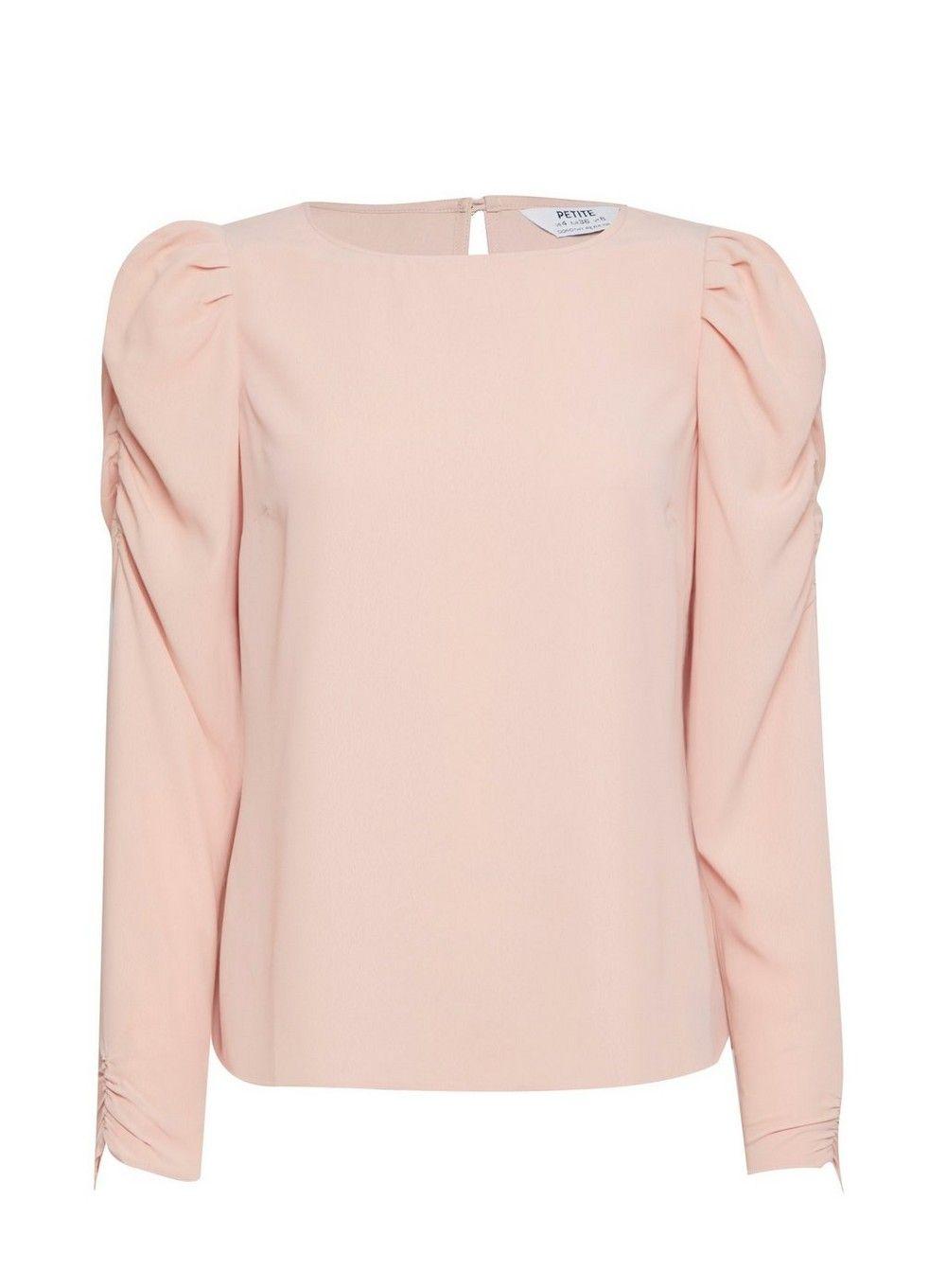 Dorothy Perkins Womens Petite Pink Long Sleeve Puff Shoulder Top Blouse
