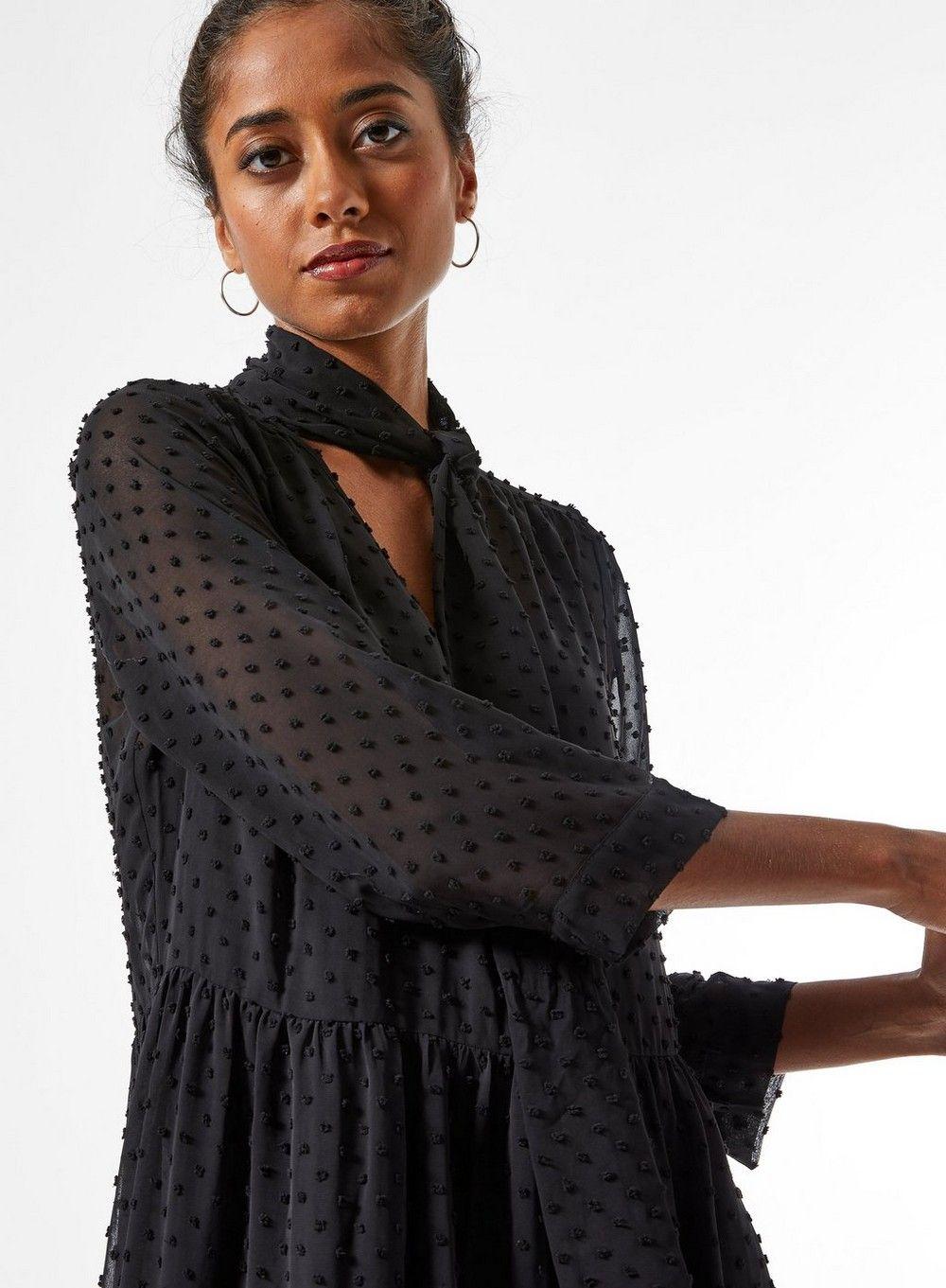 Dorothy Perkins Womens Petite Black Dobby Shirt Dress Tie Neck