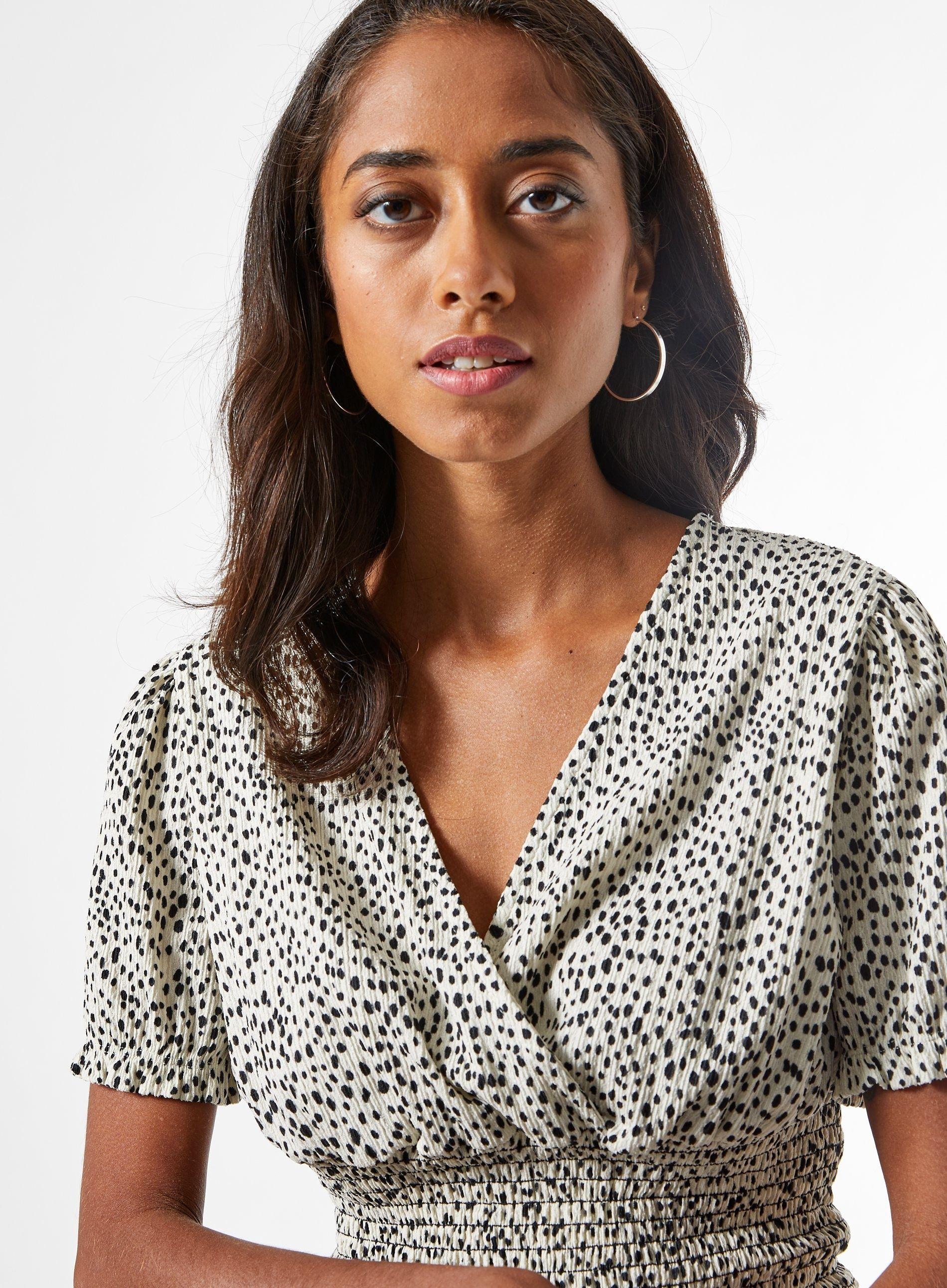 Dorothy Perkins Womens Petite Ivory Spot Wrap Top V-Neck Short Sleeve Blouse