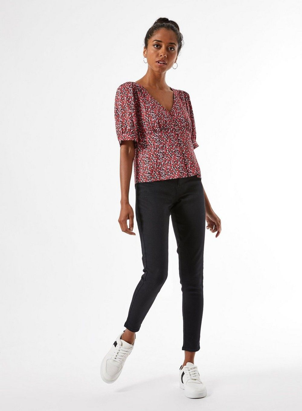 Dorothy Perkins Womens Petite Red Ditsy Print Button Through Top Blouse