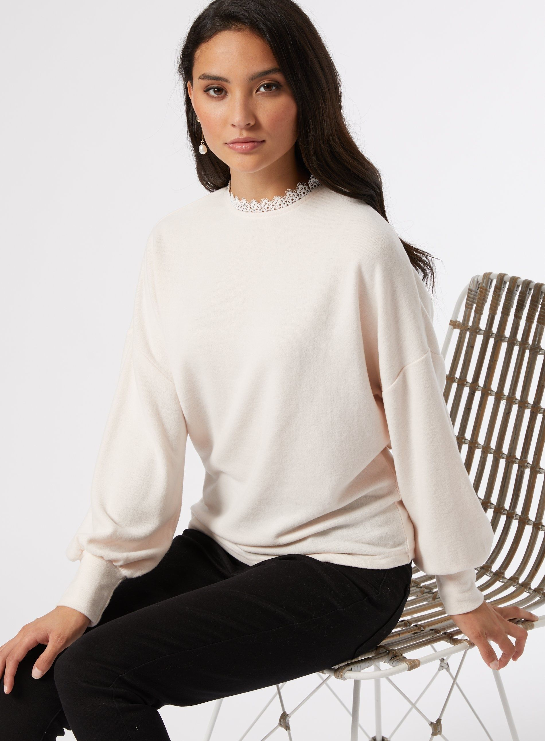 Dorothy Perkins Womens Petite Blush Lace Trim High Neck Long Sleeve Top Blouse