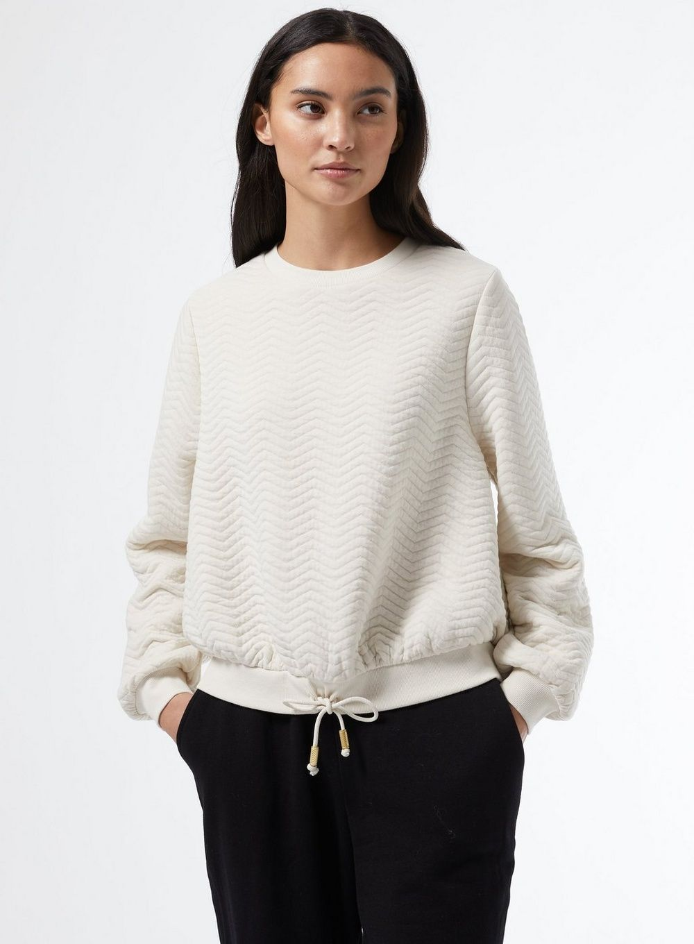 Dorothy Perkins Womens Petite White Jacquard Sweat Top Sweater Blouse Pullover