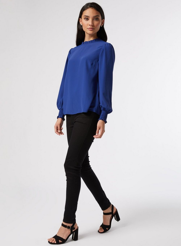 Dorothy Perkins Womens Petite Blue Shirred Cuff Top Shirt Blouse Long Sleeve