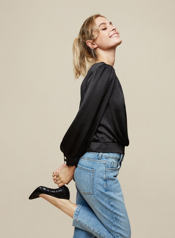 Dorothy Perkins Womens Petite Black Shoulder Padded Top Long Sleeve Blouse Shirt