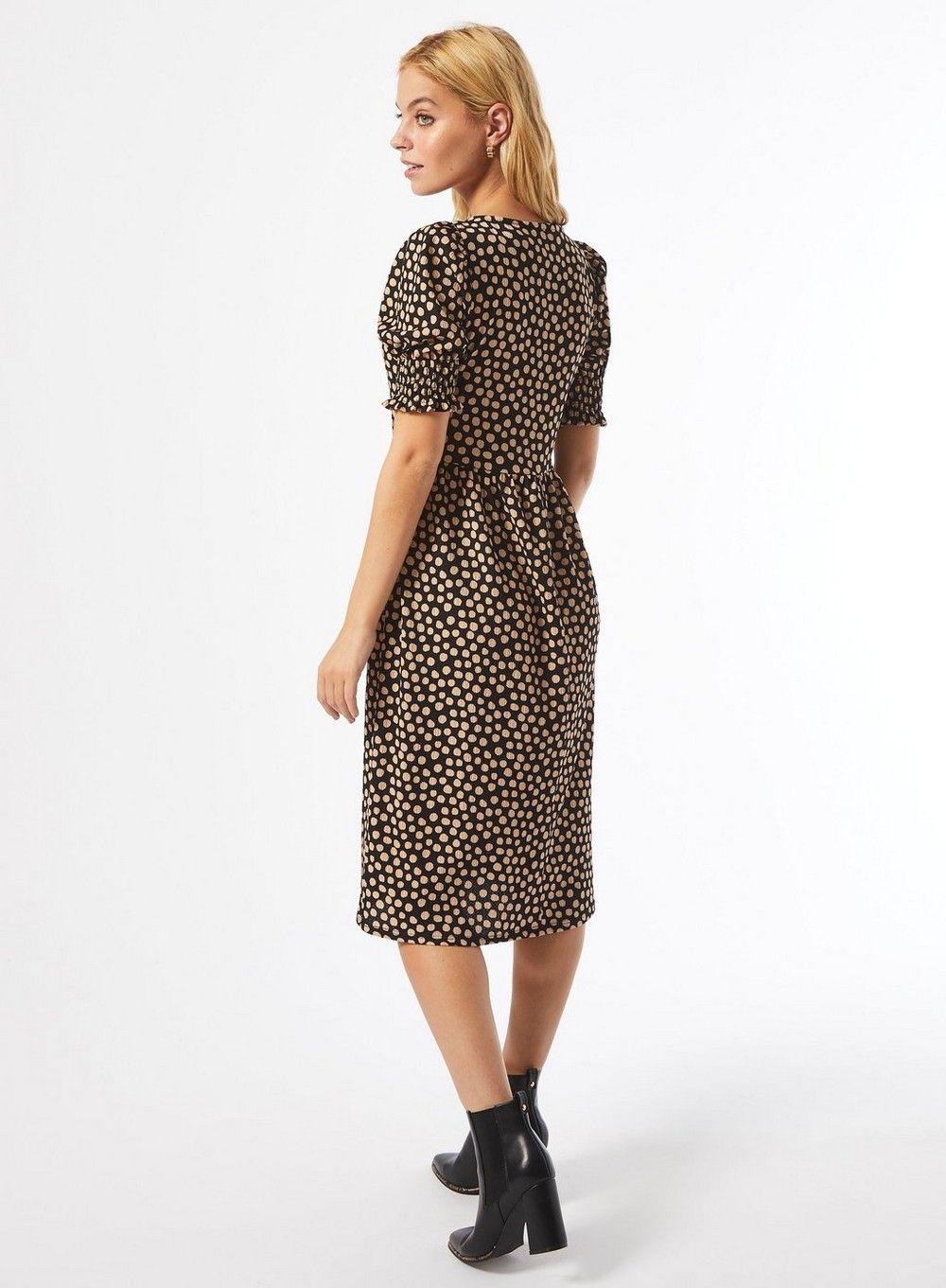 Dorothy Perkins Womens Petite Multi Colour Spot Print Midi Dress Short Sleeve
