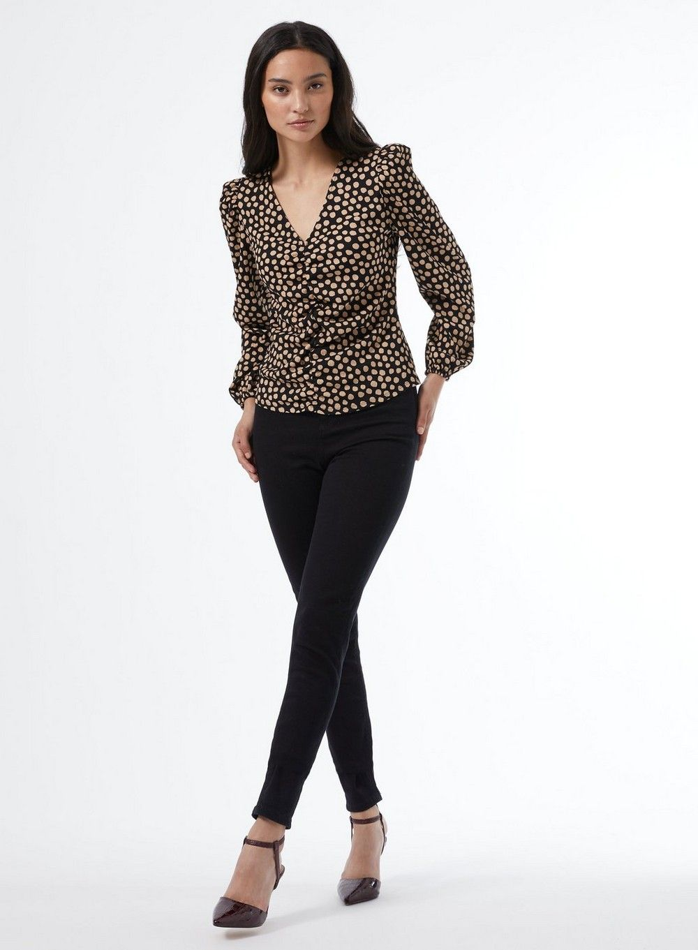 Dorothy Perkins Womens Petite Black Spot Rouched Top Blouse Elegant V-Neck