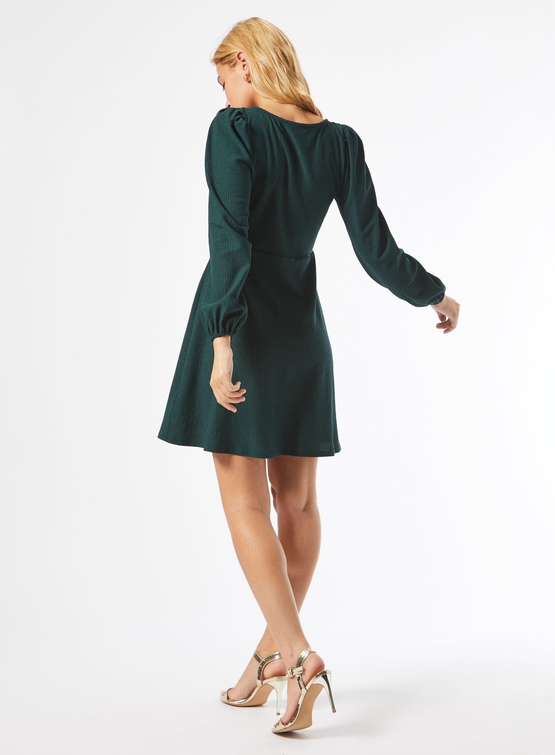 Dorothy Perkins Womens Petite Green Ruched Mini Dress Long Sleeve V-Neck