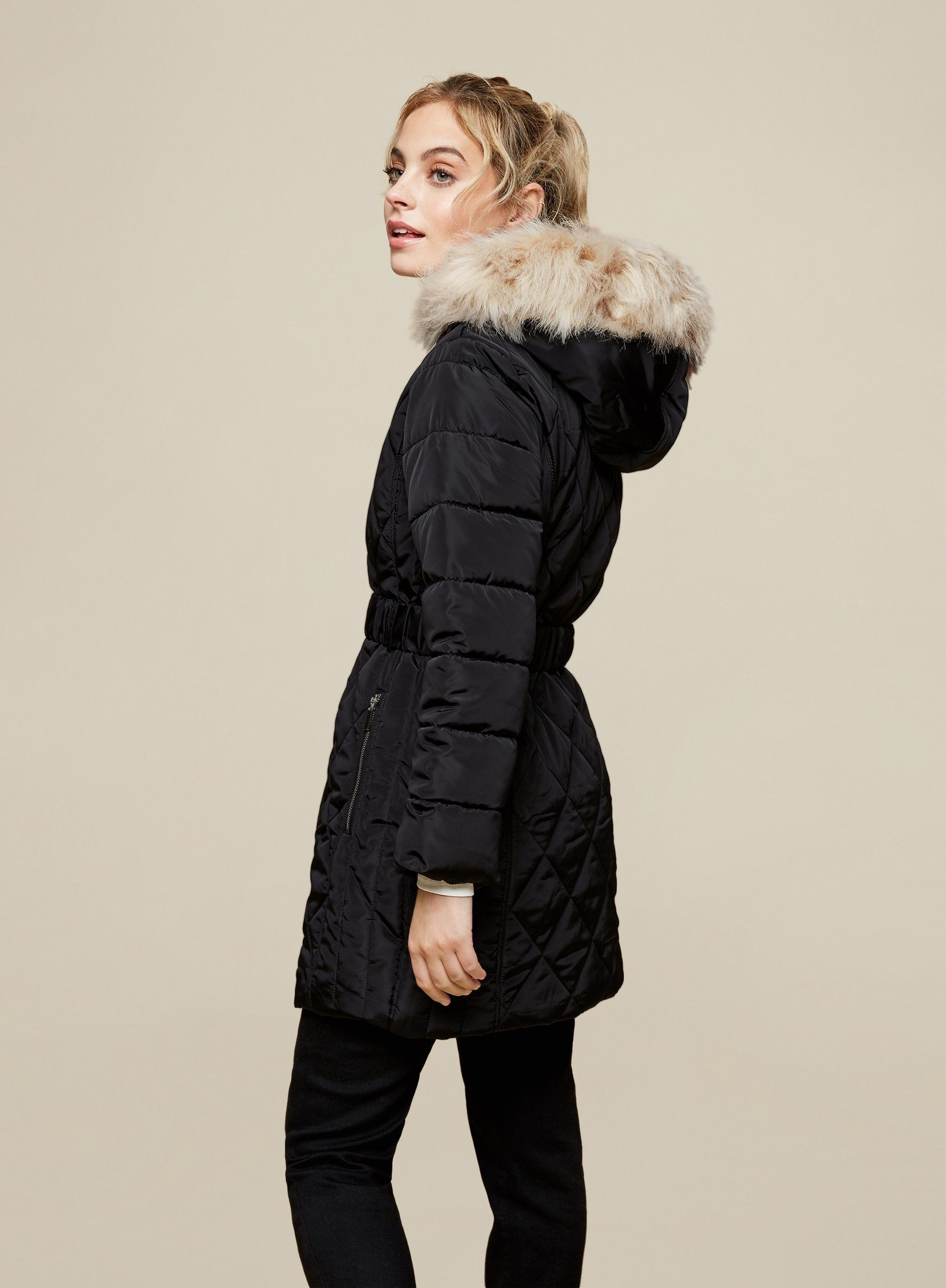 Dorothy Perkins Womens Petite Black Long Quilted Coat Jacket Outwear Top