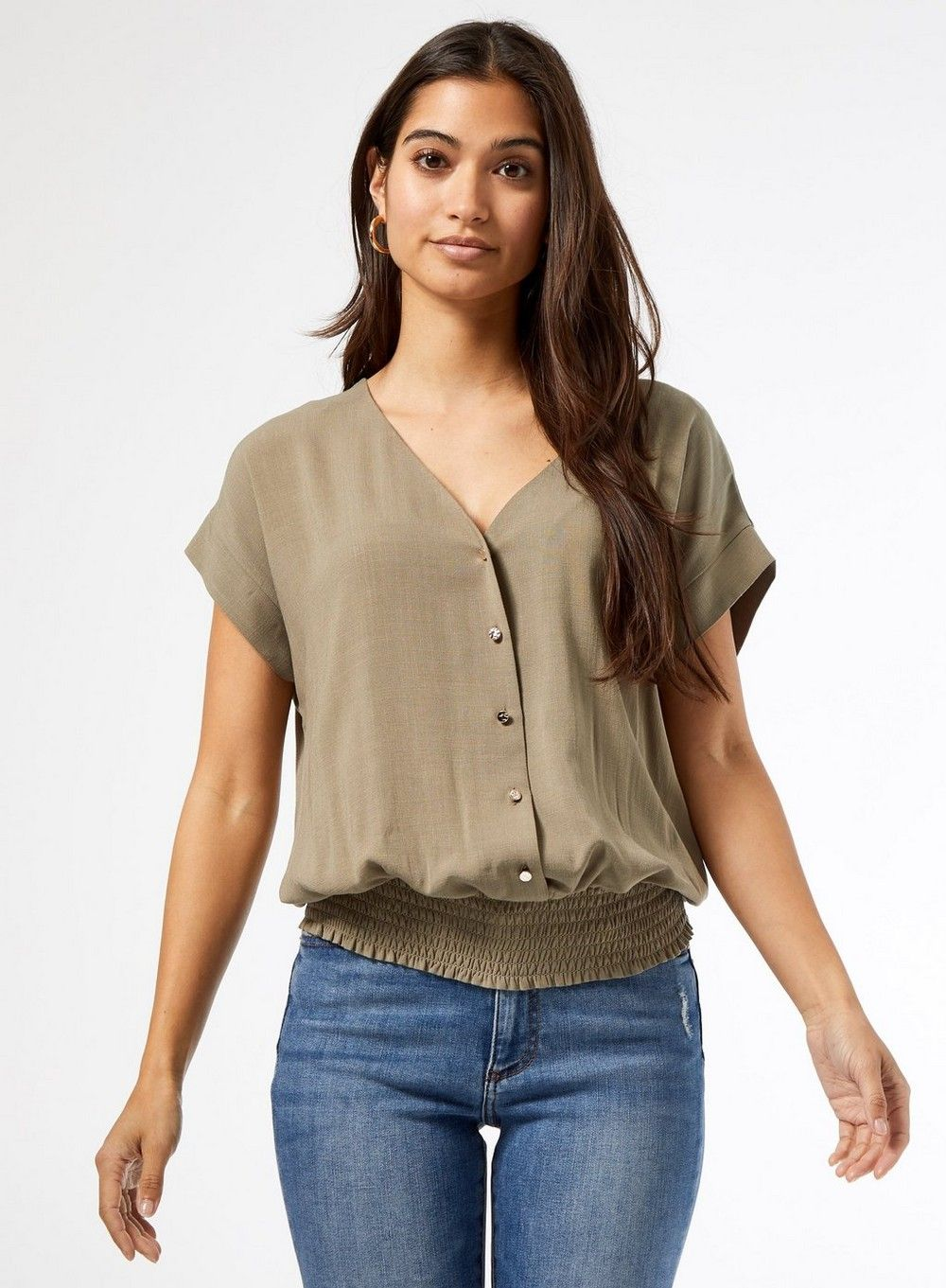 Dorothy Perkins Womens Petite Green Slub Button Top Blouse Short Sleeve