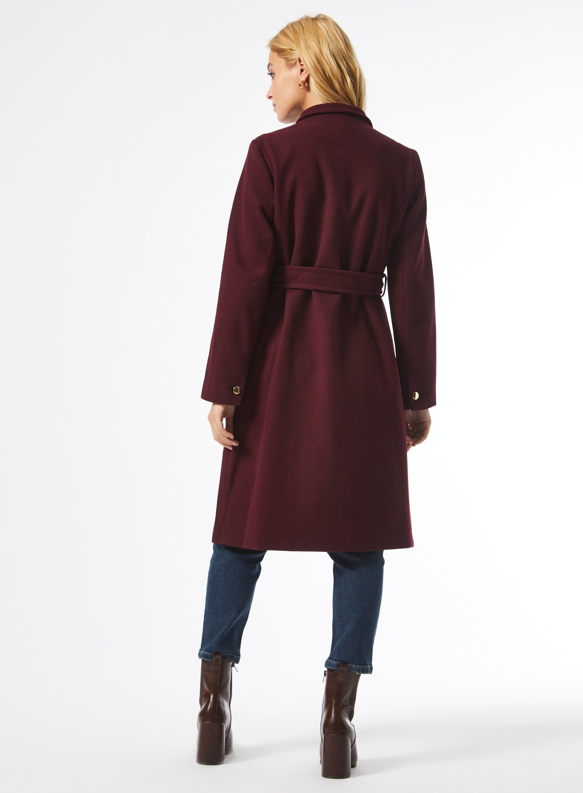 Dorothy Perkins Womens Petite Berry Red Port Belted Coat Jacket Outwear Top