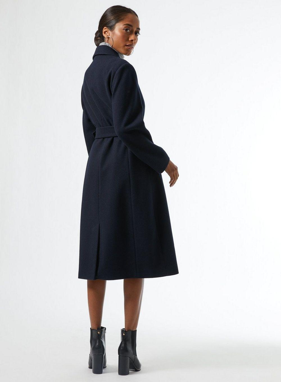 Dorothy Perkins Womens Petite Blue Belted Wrap Coat Warm Jacket Outwear Top