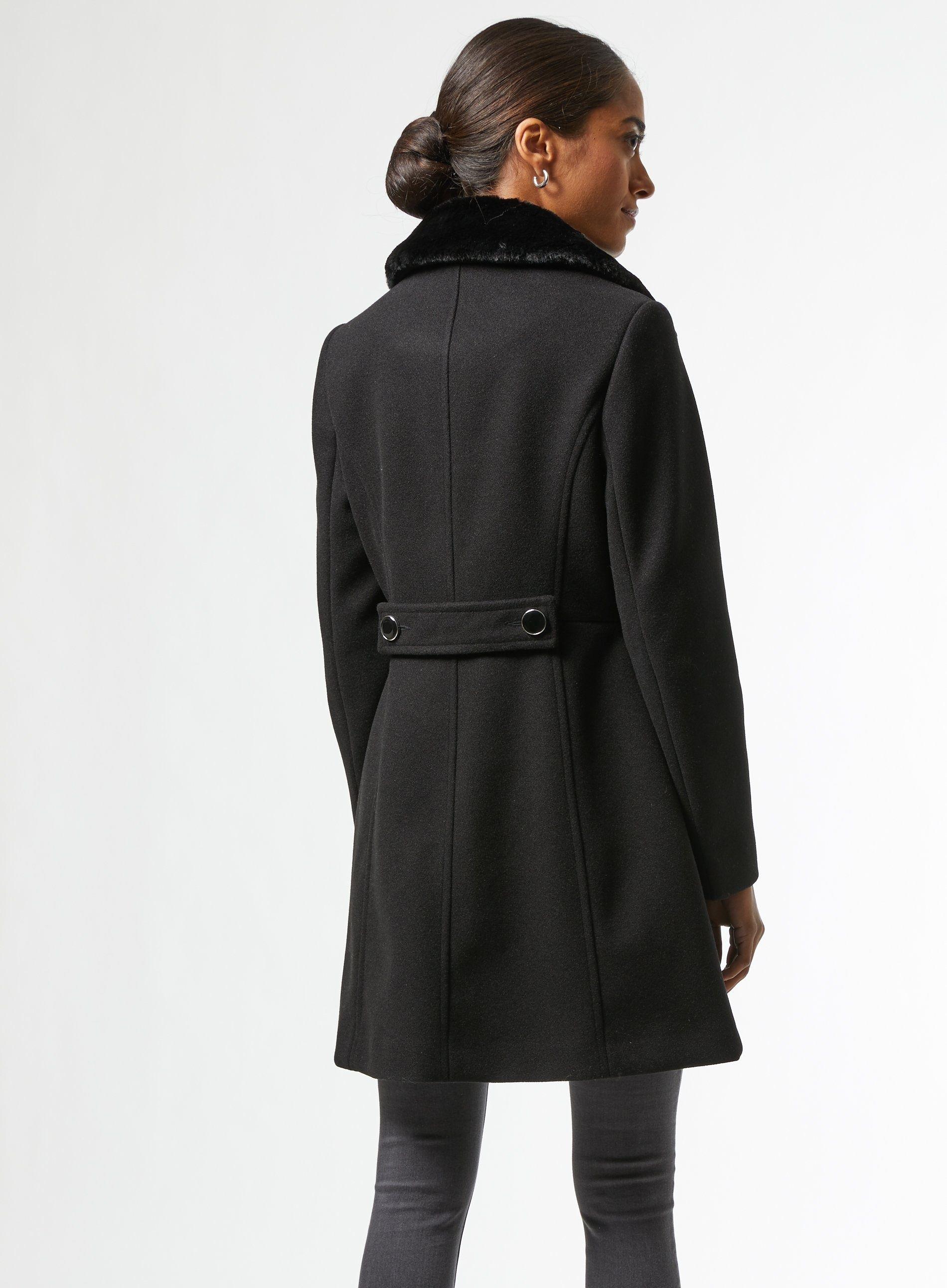 Dorothy Perkins Womens Petite Black Dolly Coat Jacket Outwear Top Warm Winter