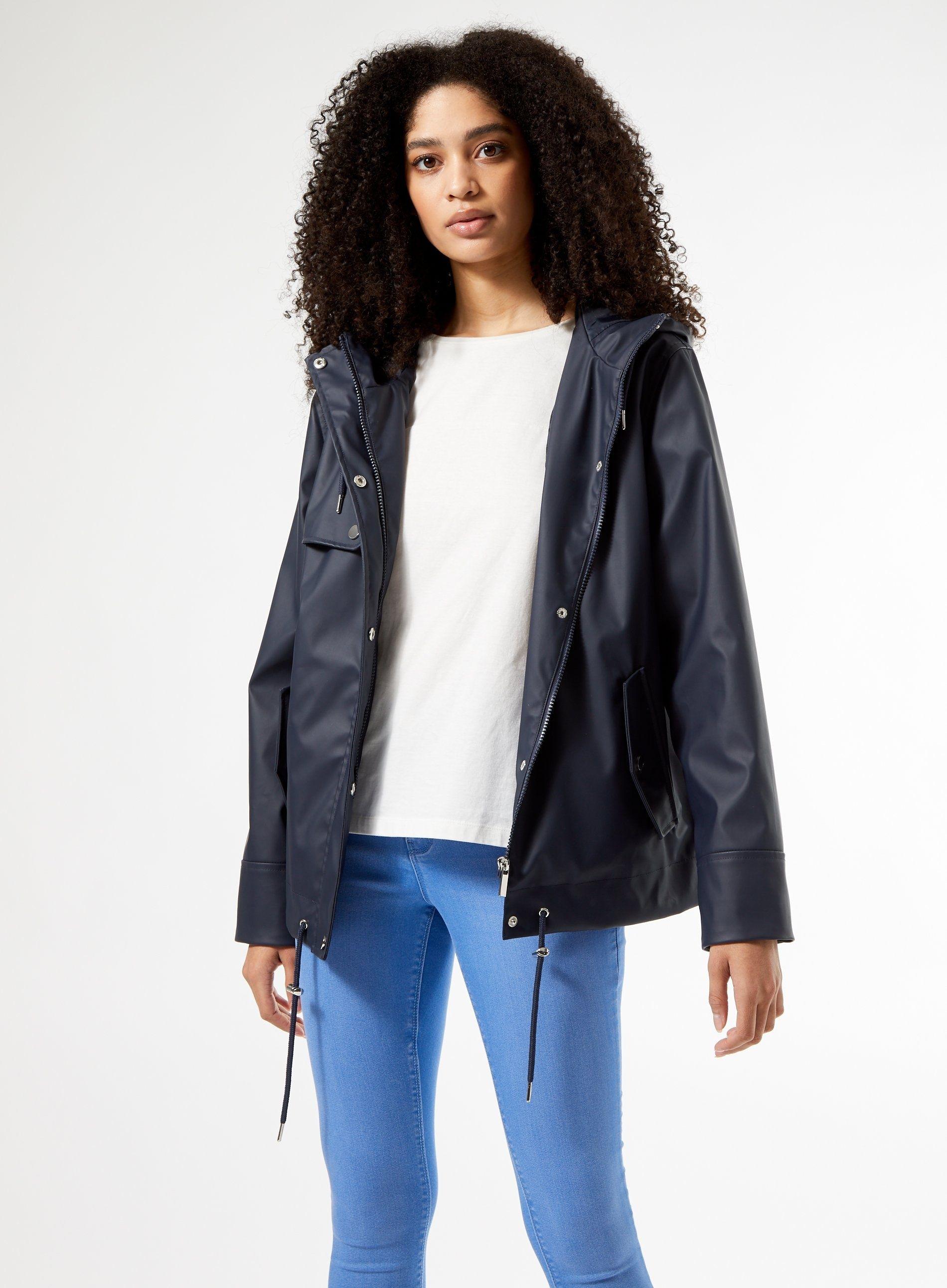 Dorothy Perkins Womens Blue Short Raincoat Long Sleeve Drawcord Top Outerwear