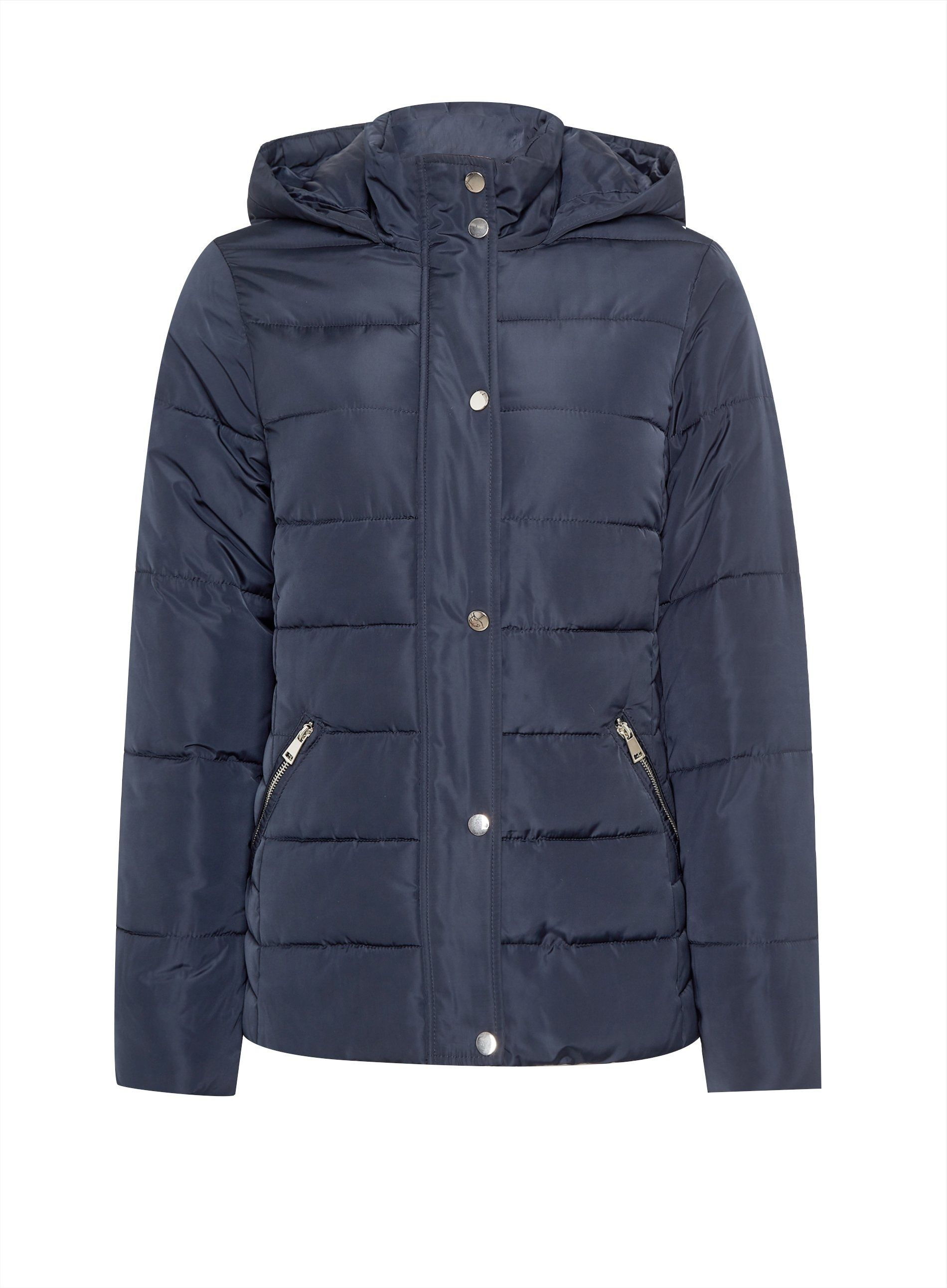 Dorothy Perkins Womens Navy Short Padded Coat Jacket Winter Warm Zip Outerwear