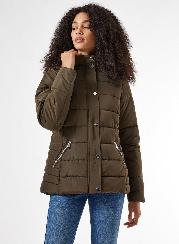 Dorothy Perkins Womens Green Short Padded Coat Winter Warm Jacket Outwear Top