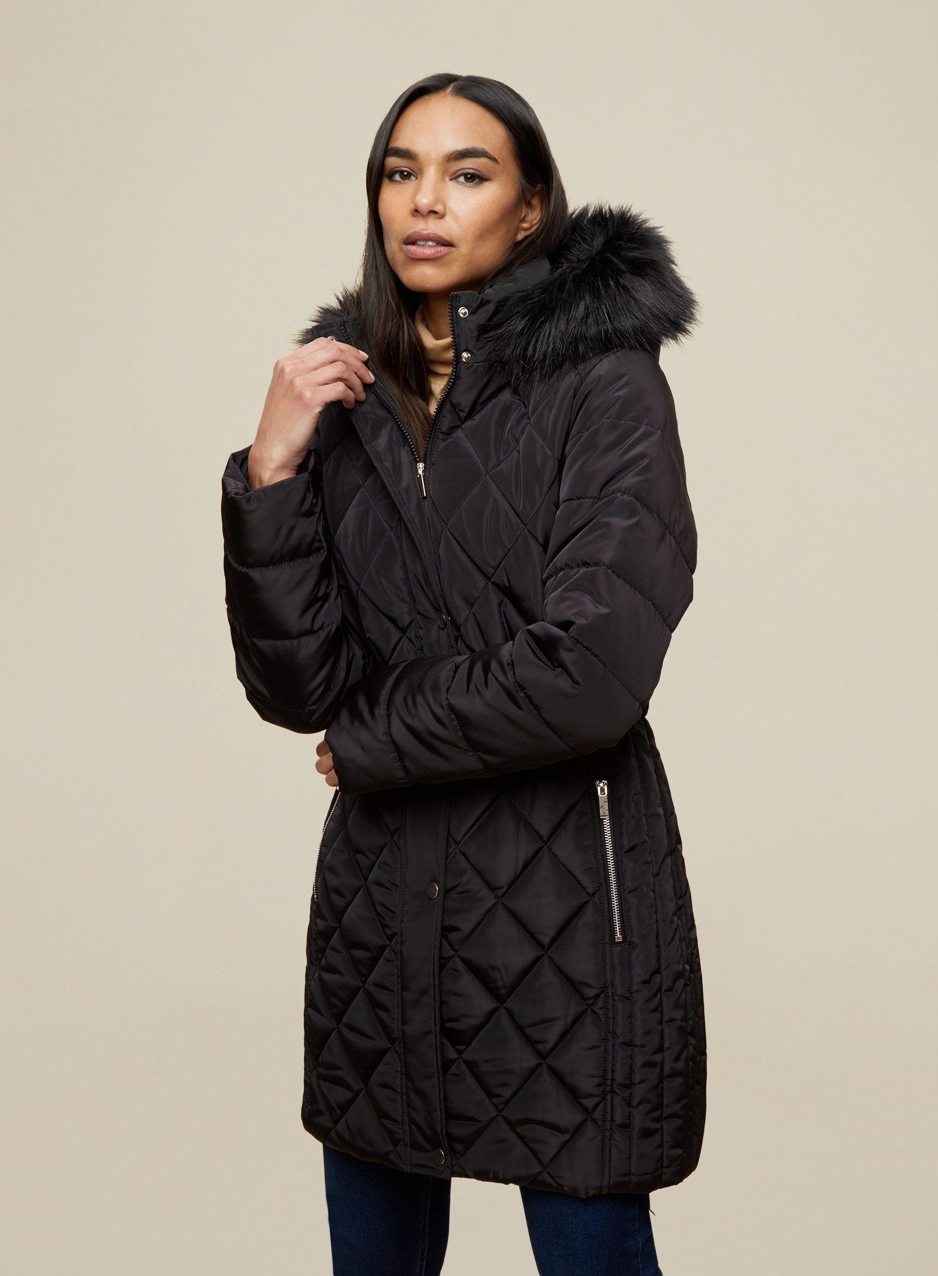 Dorothy Perkins Womens Black Long Fur Neck Jacket Puffer Coat Outwear Top