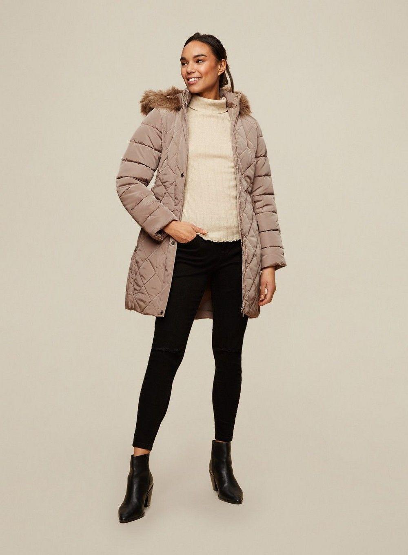 Dorothy Perkins Womens Grey Long Luxe Coat Puffer Jacket Outwear Top Winter Warm
