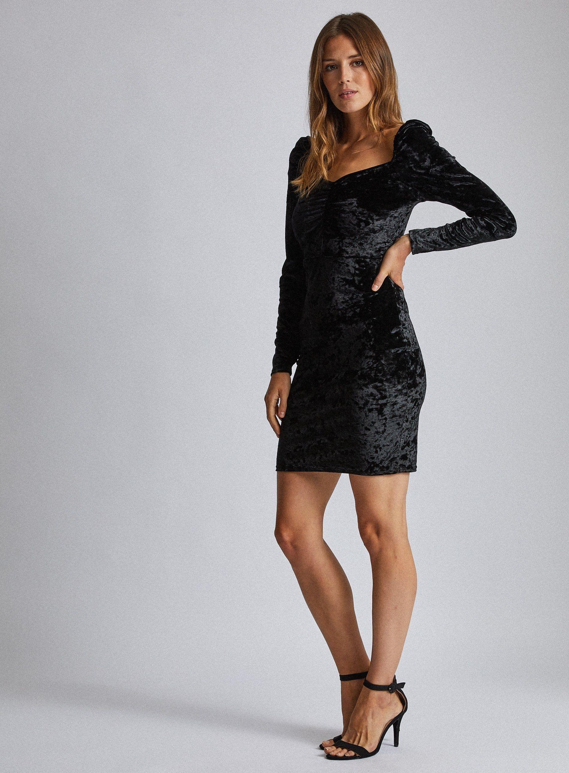 Dorothy Perkins Womens Black Sweetheart Neck Mini Bodycon Dress Long Sleeve