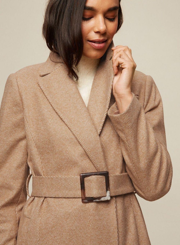 Dorothy Perkins Womens Brown Herringbone Belted Wrap Coat Winter Jacket Outwear