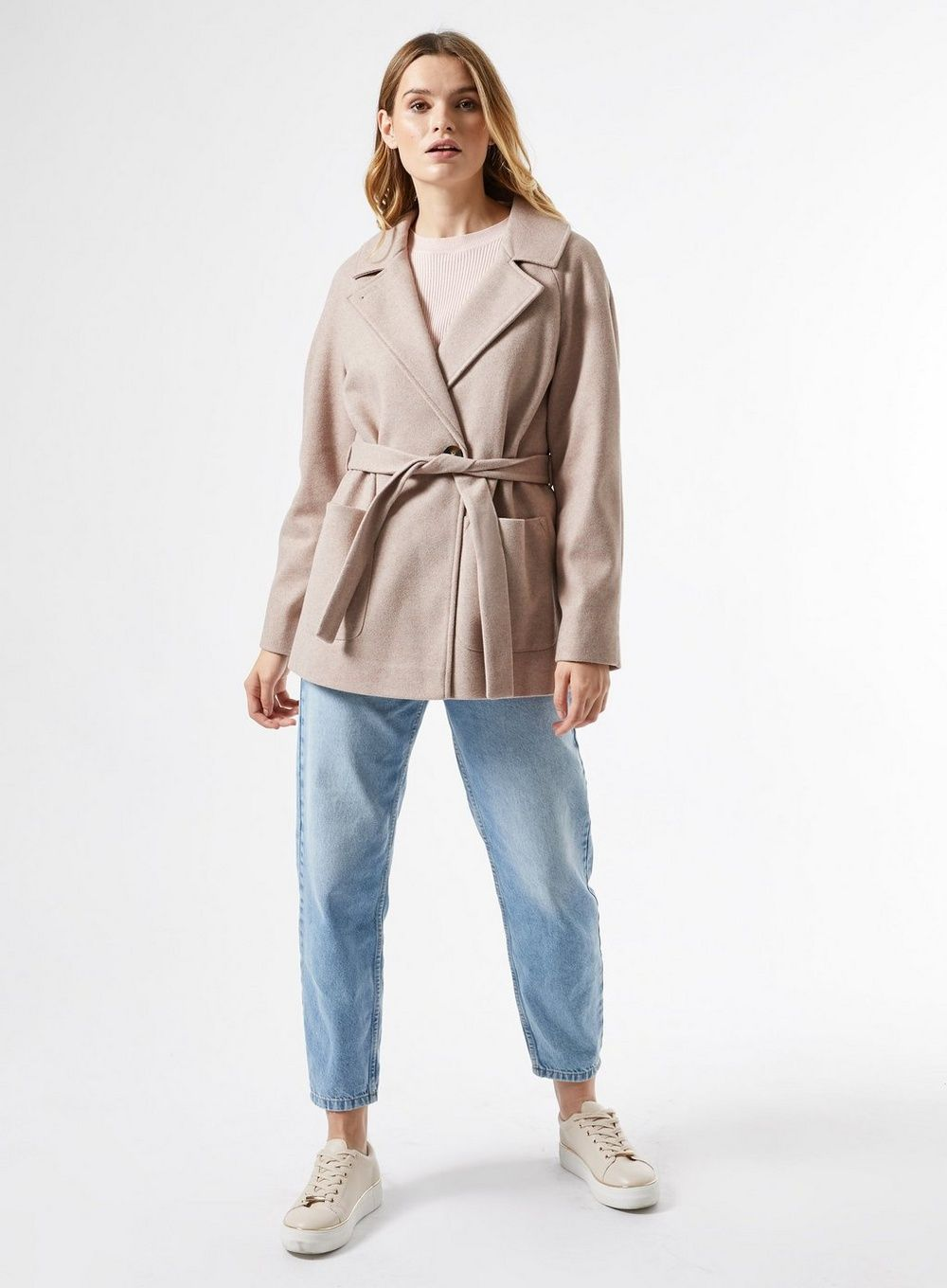 Dorothy Perkins Womens Oatmeal Short Belted Wrap Throw On Coat