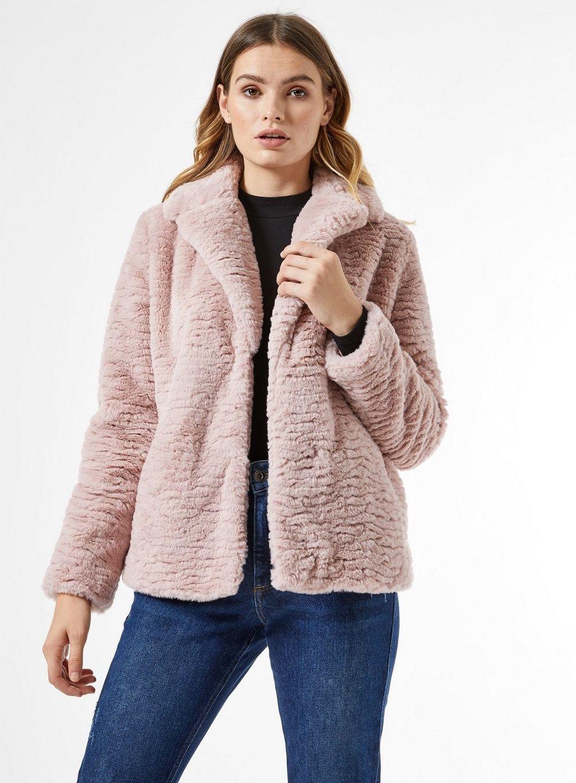 Dorothy Perkins Womens Pink Textured Short Faux Fur Fluffy Teddy Winter Coat