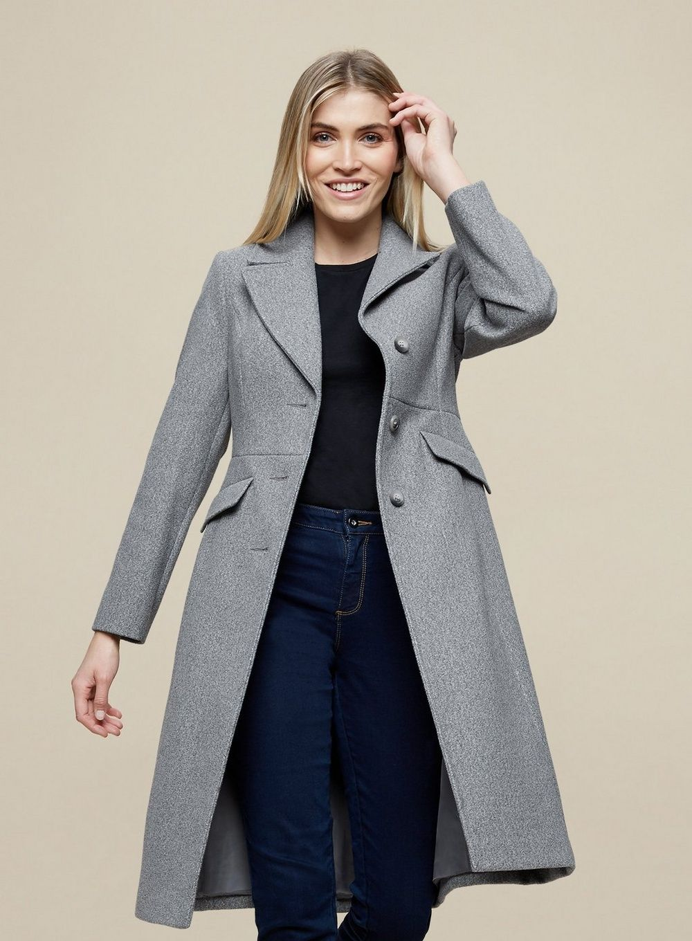 Dorothy Perkins Womens Grey Fit and Flare Lady Coat Winter Jacket Outwear Top