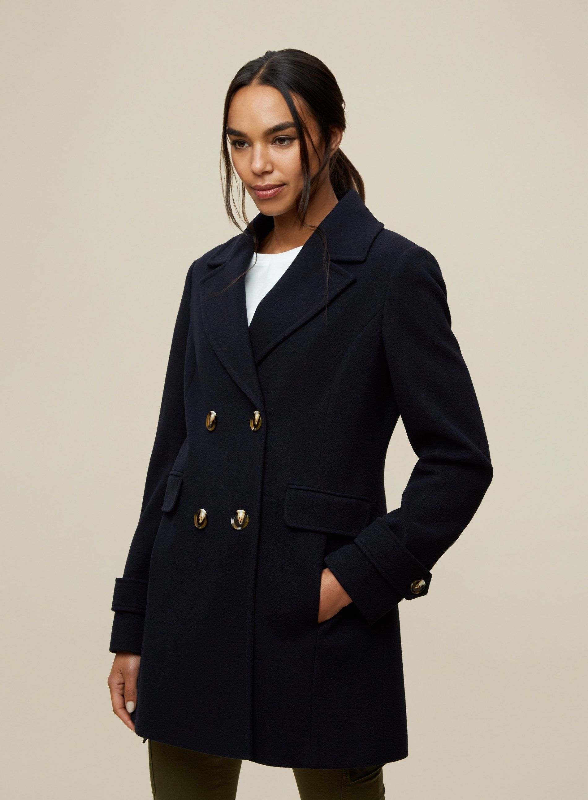 Dorothy Perkins Womens Navy Double Breasted Pea Coat Jacket Outwear Top