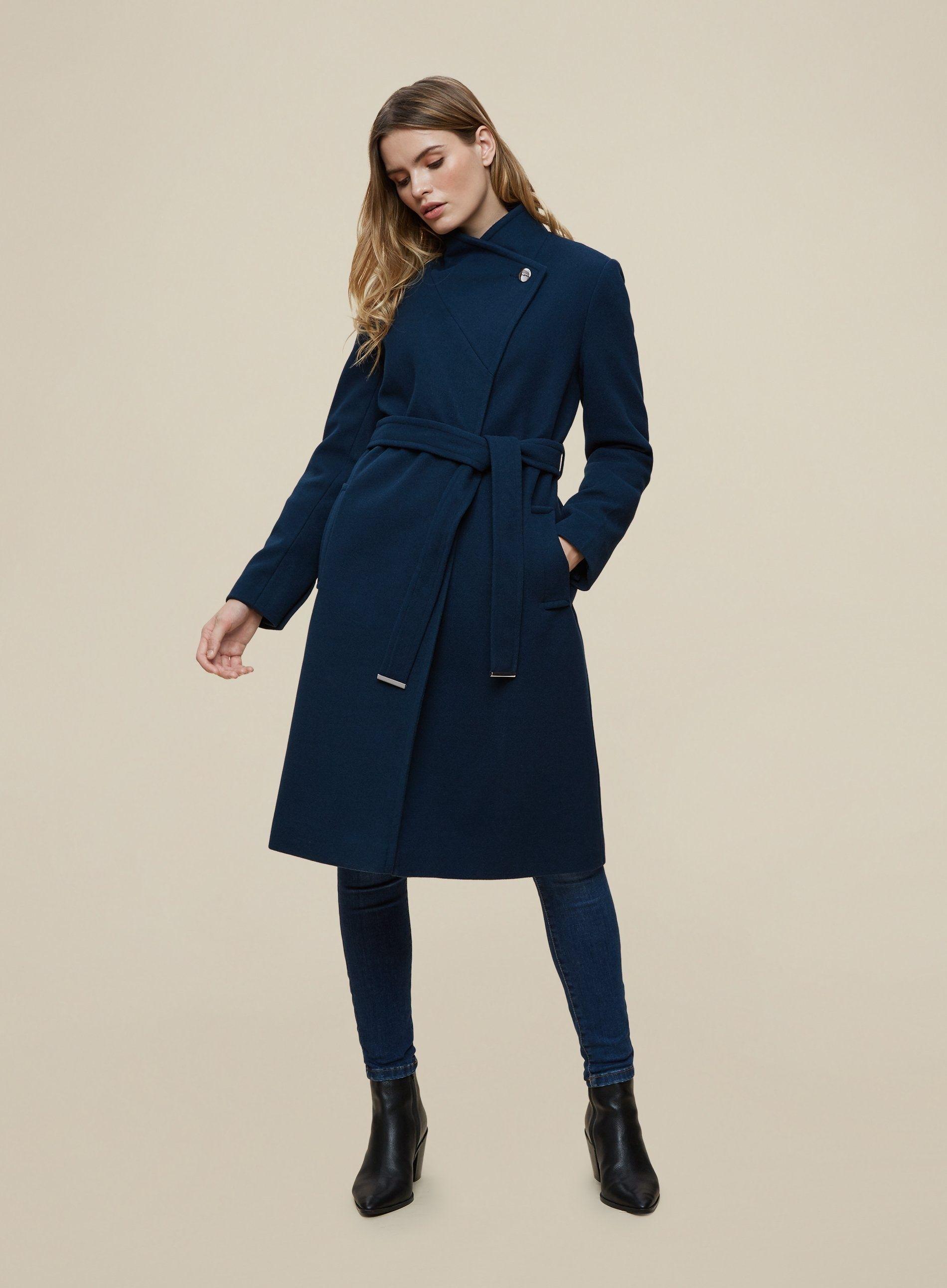 Dorothy Perkins Womens Blue Funnel Wrap Coat Warm Winter Jacket Outwear Top
