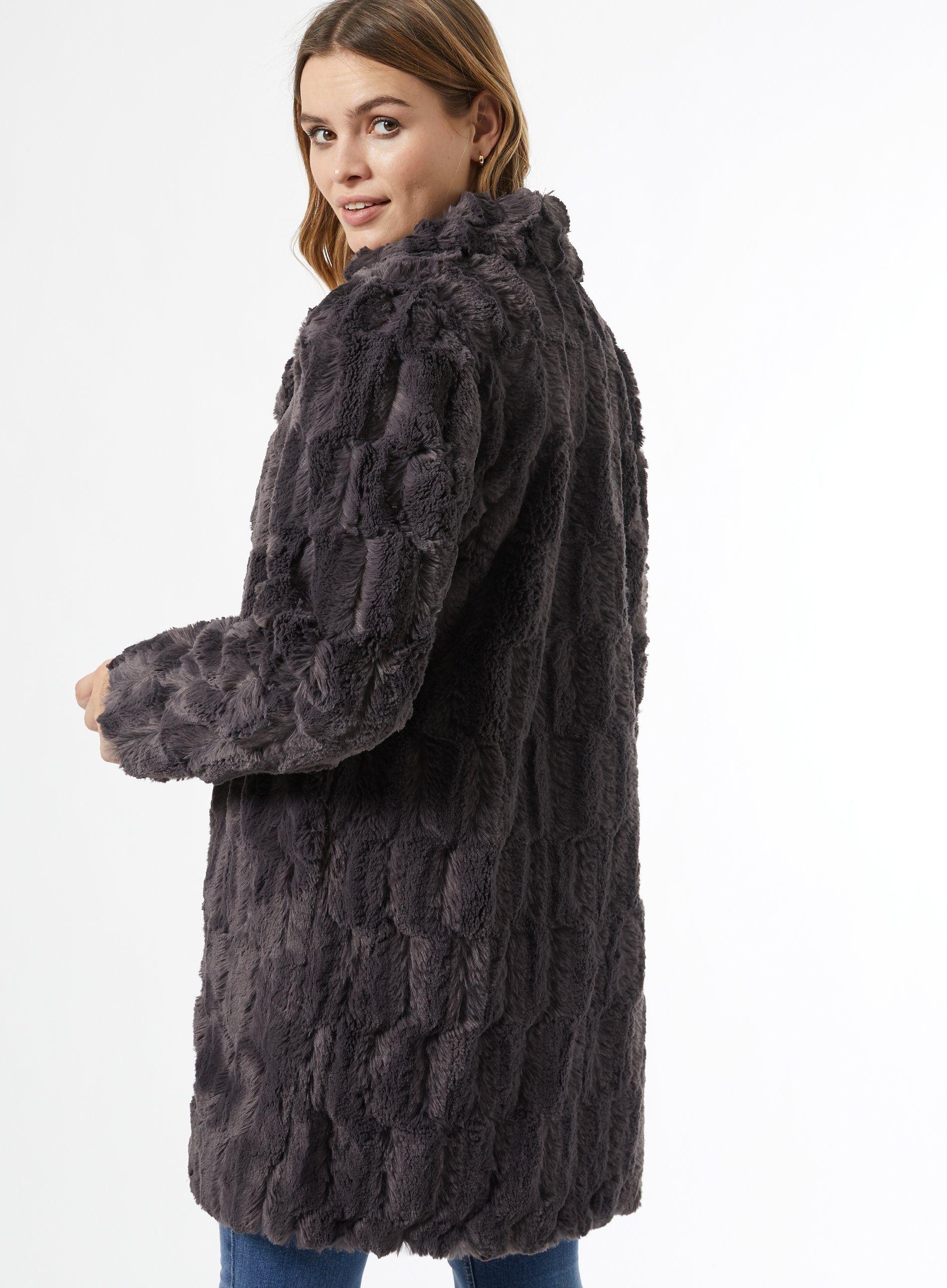 Dorothy Perkins Womens Grey Longline Fur Coat Warm Winter Jacket Outwear Top