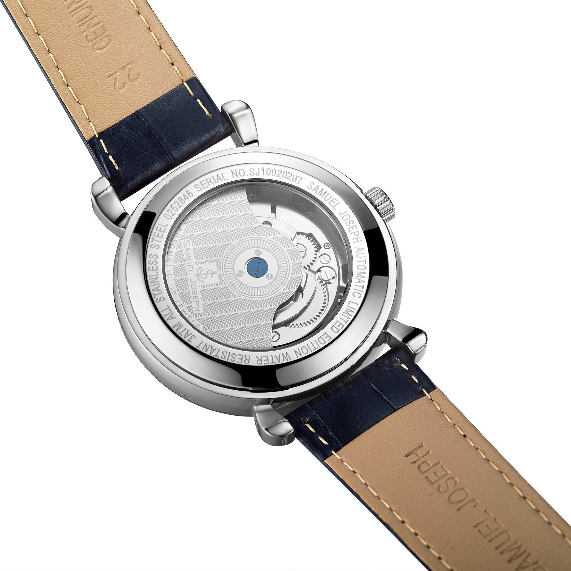 Samuel Joseph Limited Edition Steel & Blue Automatic Designer Mens Watch