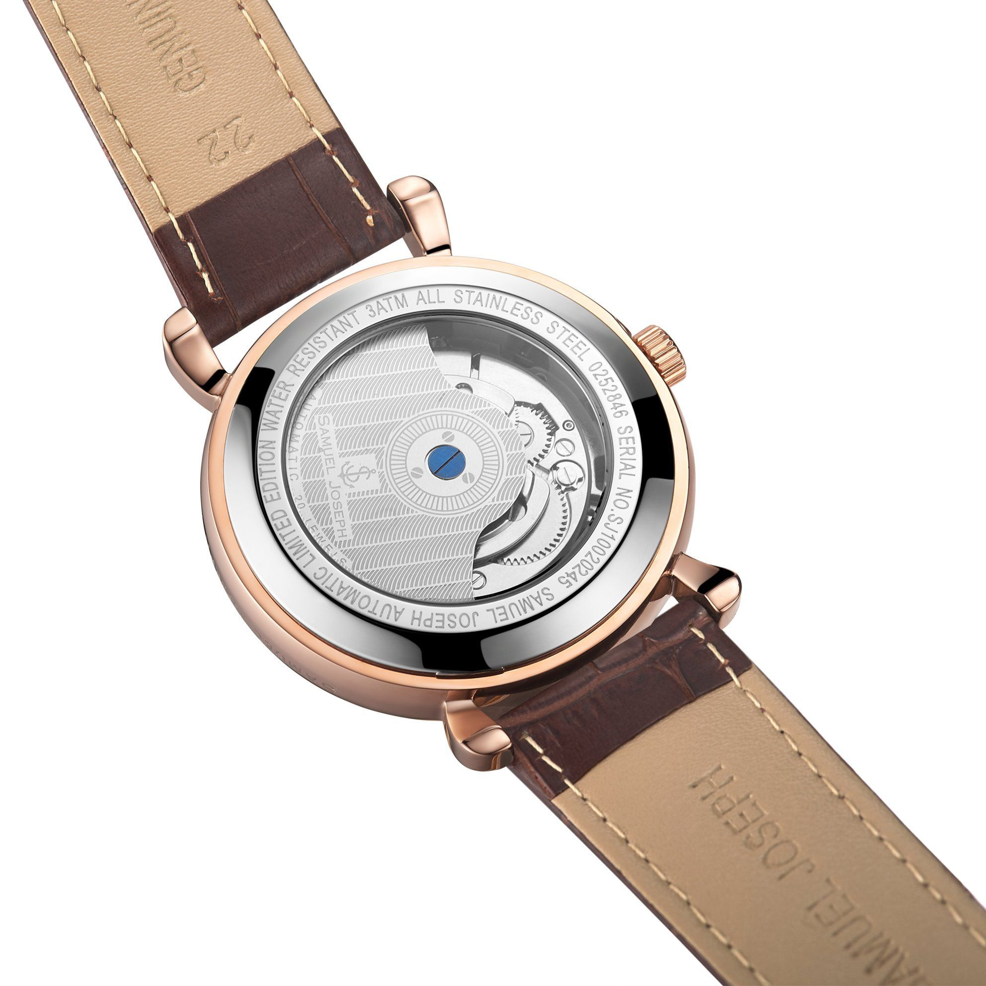 Samuel Joseph Limited Edition Rose & Brown Automatic Designer Mens Watch