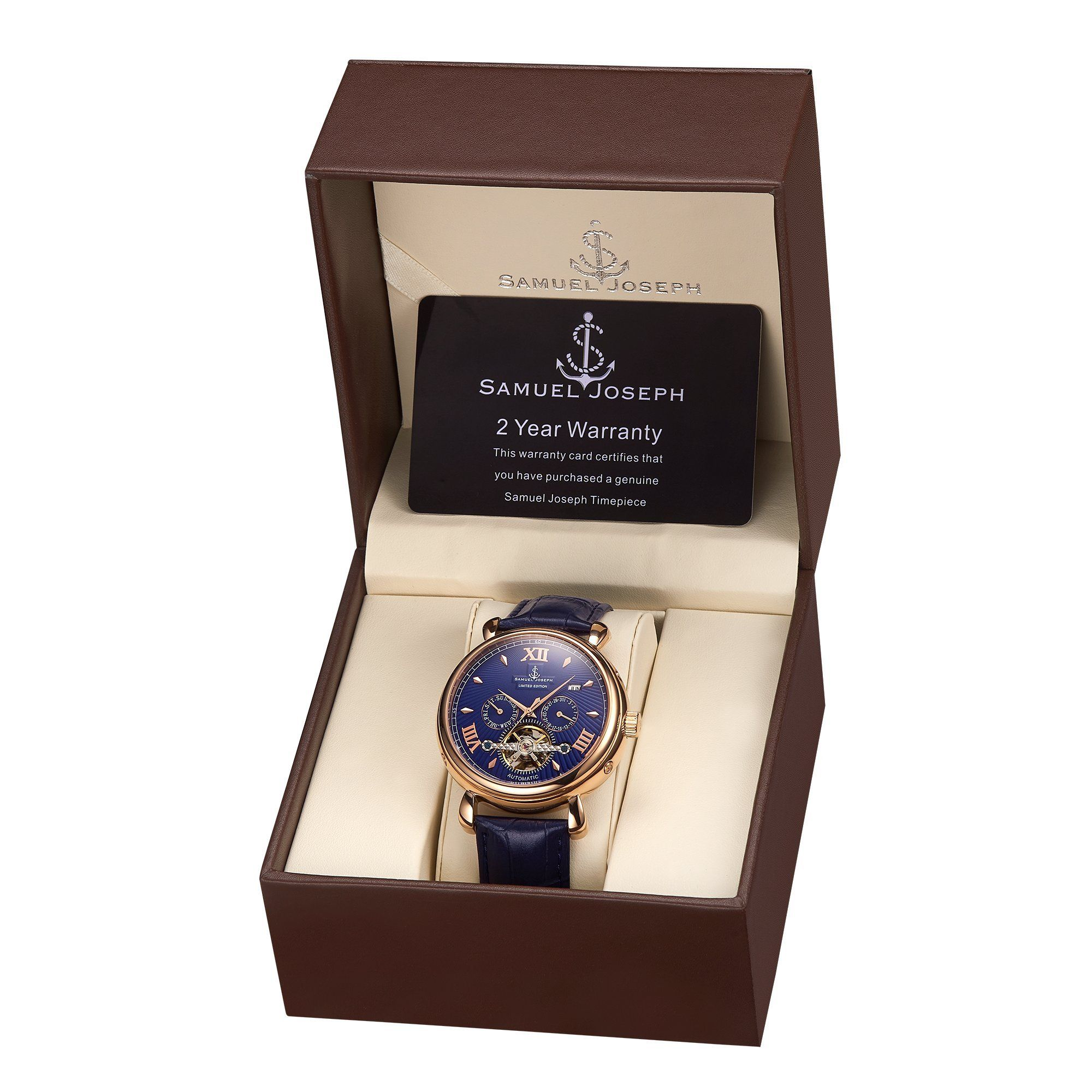 Samuel Joseph Limited Edition Rose & Blue Automatic Designer Mens Watch
