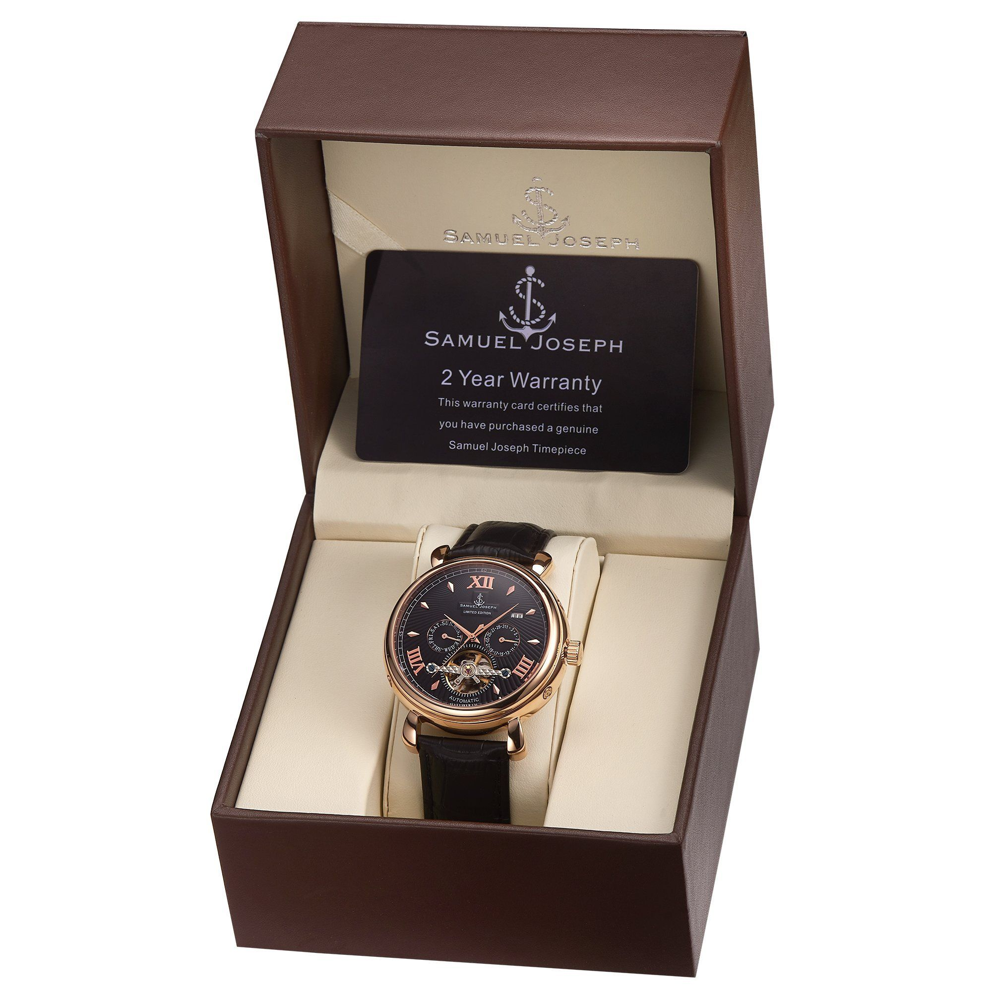 Samuel Joseph Limited Edition Rose & Black Automatic Designer Mens Watch