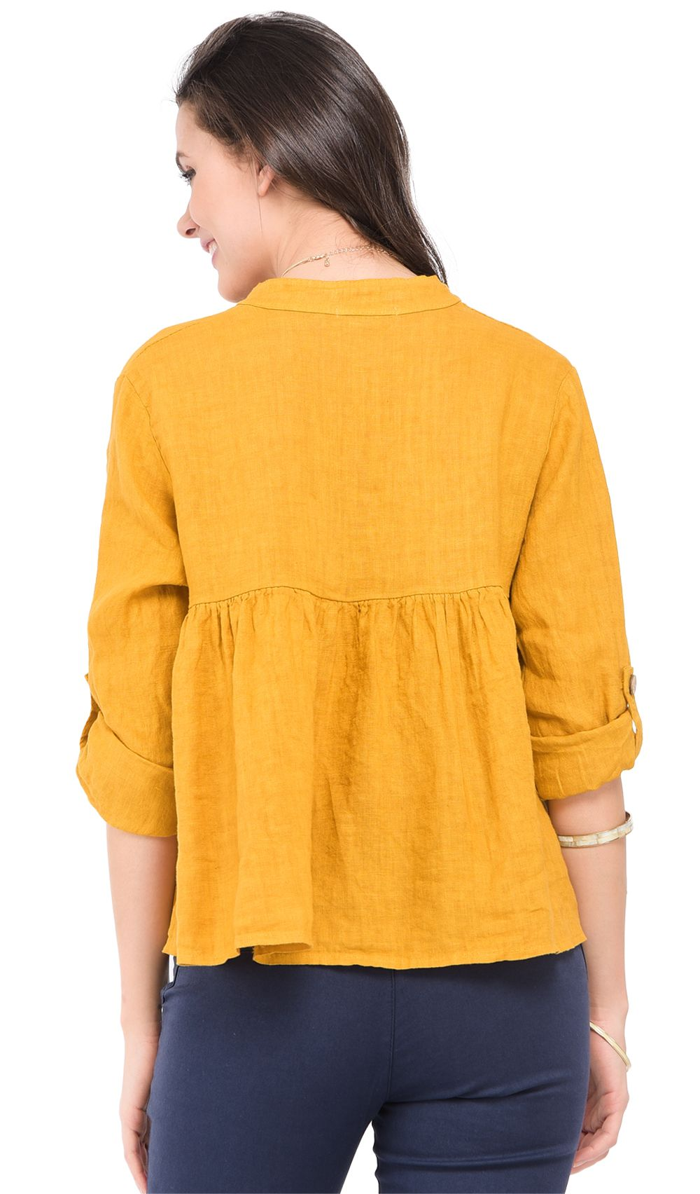 Buttoned mao V-neck ruffled Top with attachable long sleeves