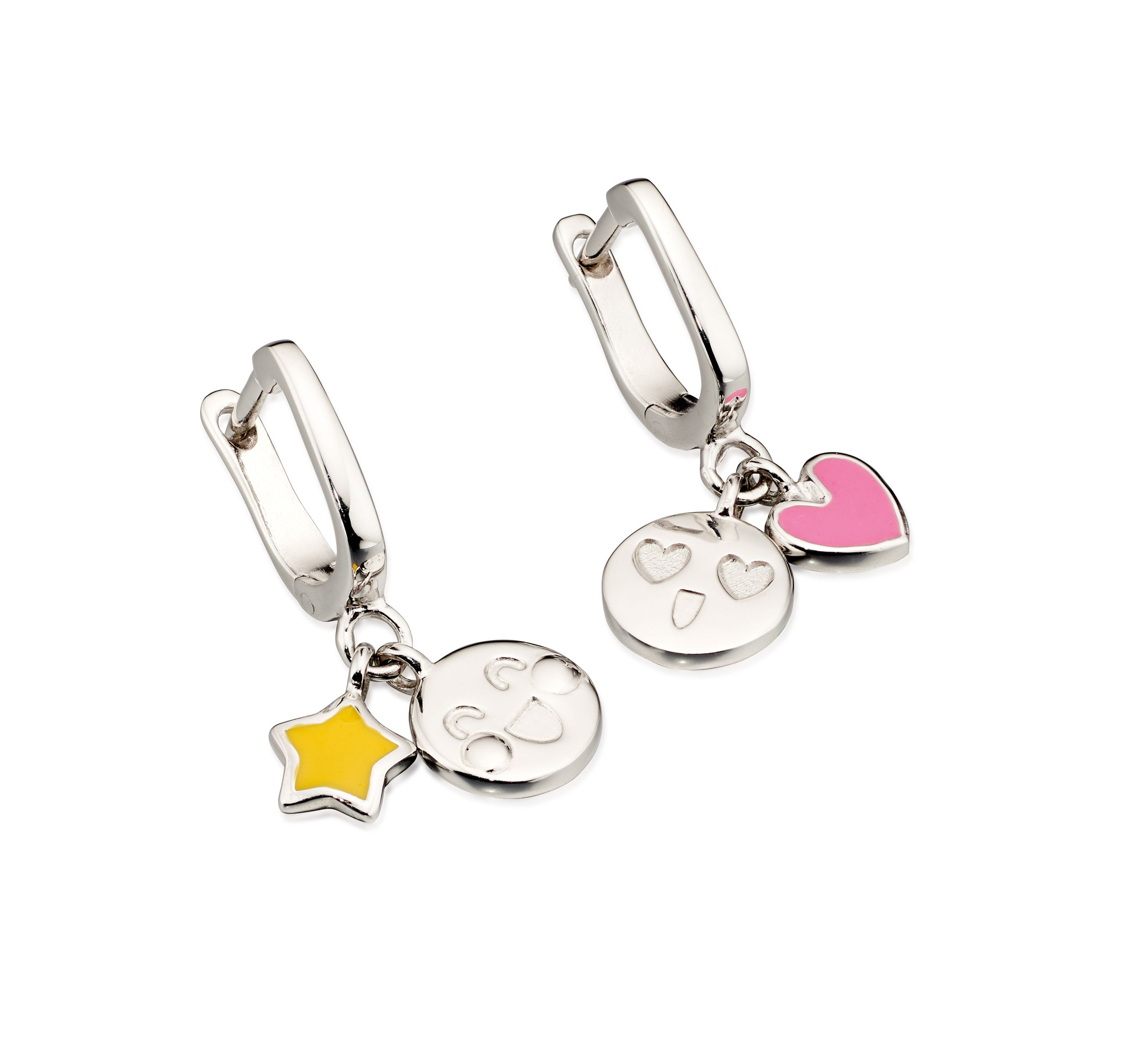 D for Diamond Childrens 925 Sterling Silver Pink & Yellow Enamel Emoticon Emoji Charm Hoop Earrings