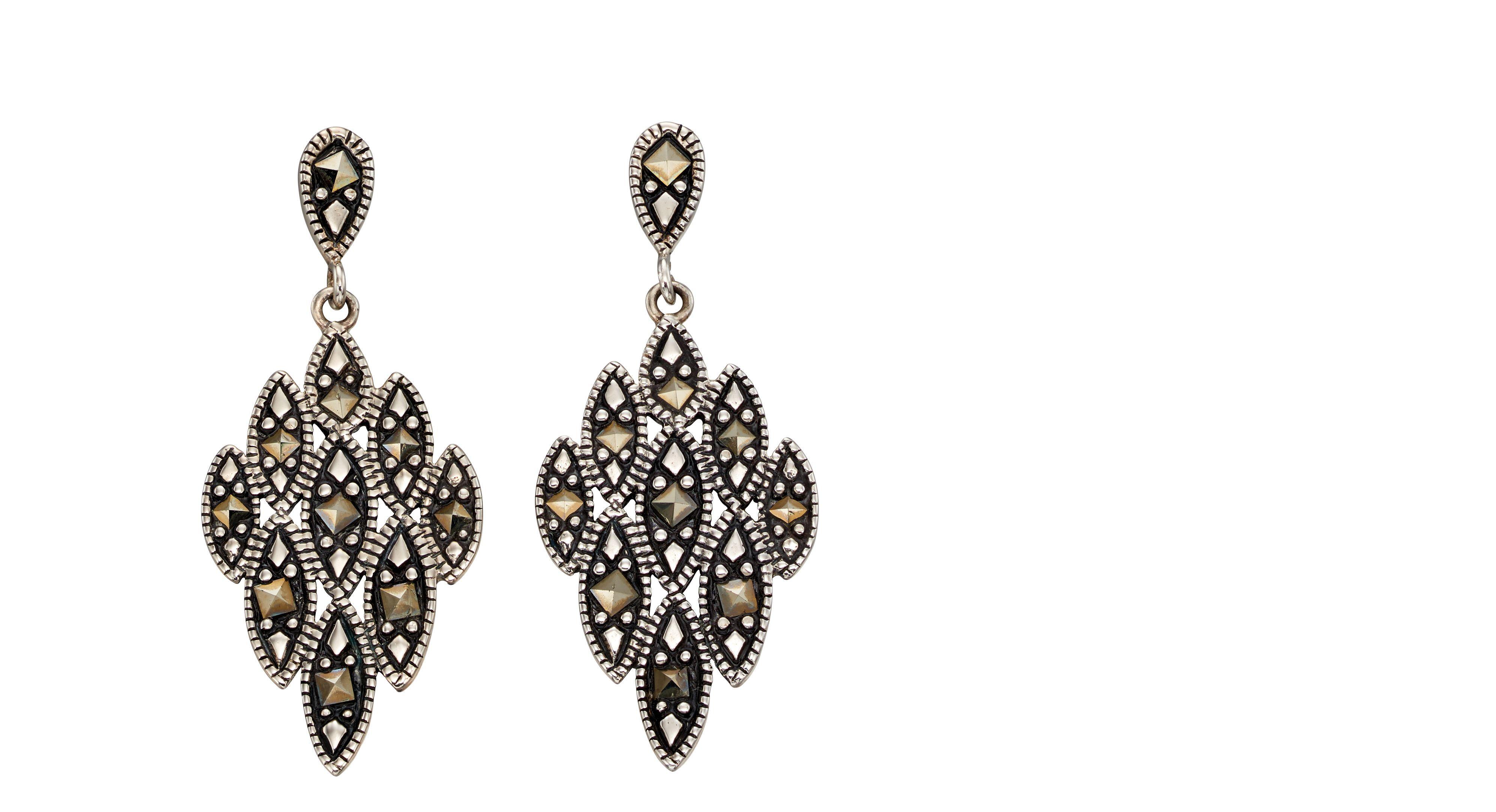 Elements Silver Womens 925 Sterling Silver Grey Marcasite Chandelier Statement Dangle Earrings E5486