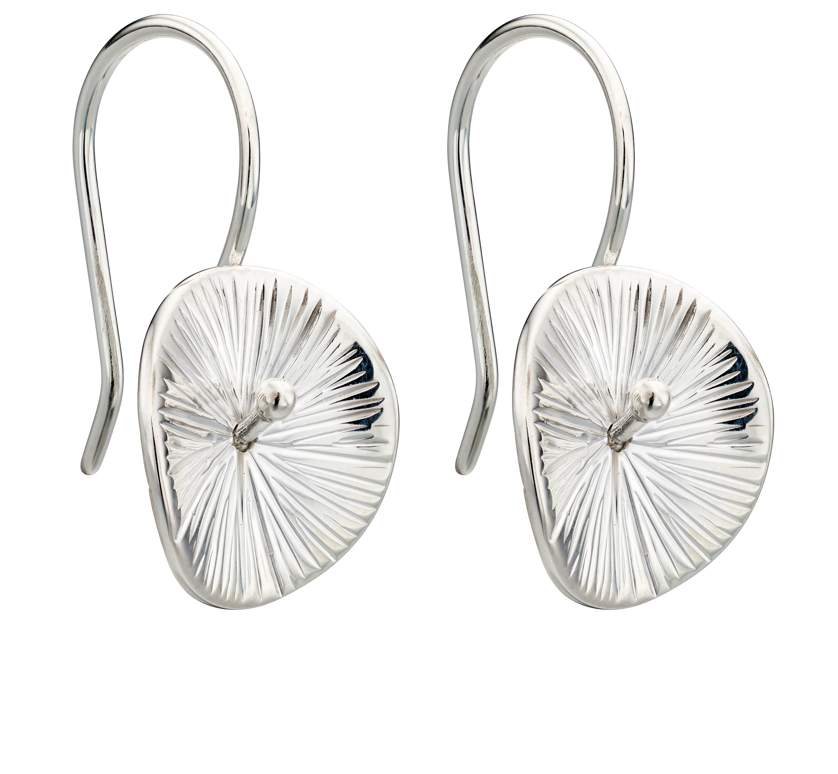 Elements Silver Womens 925 Sterling Silver Scratched Finish Disc Dangle Hook Earrings E5521