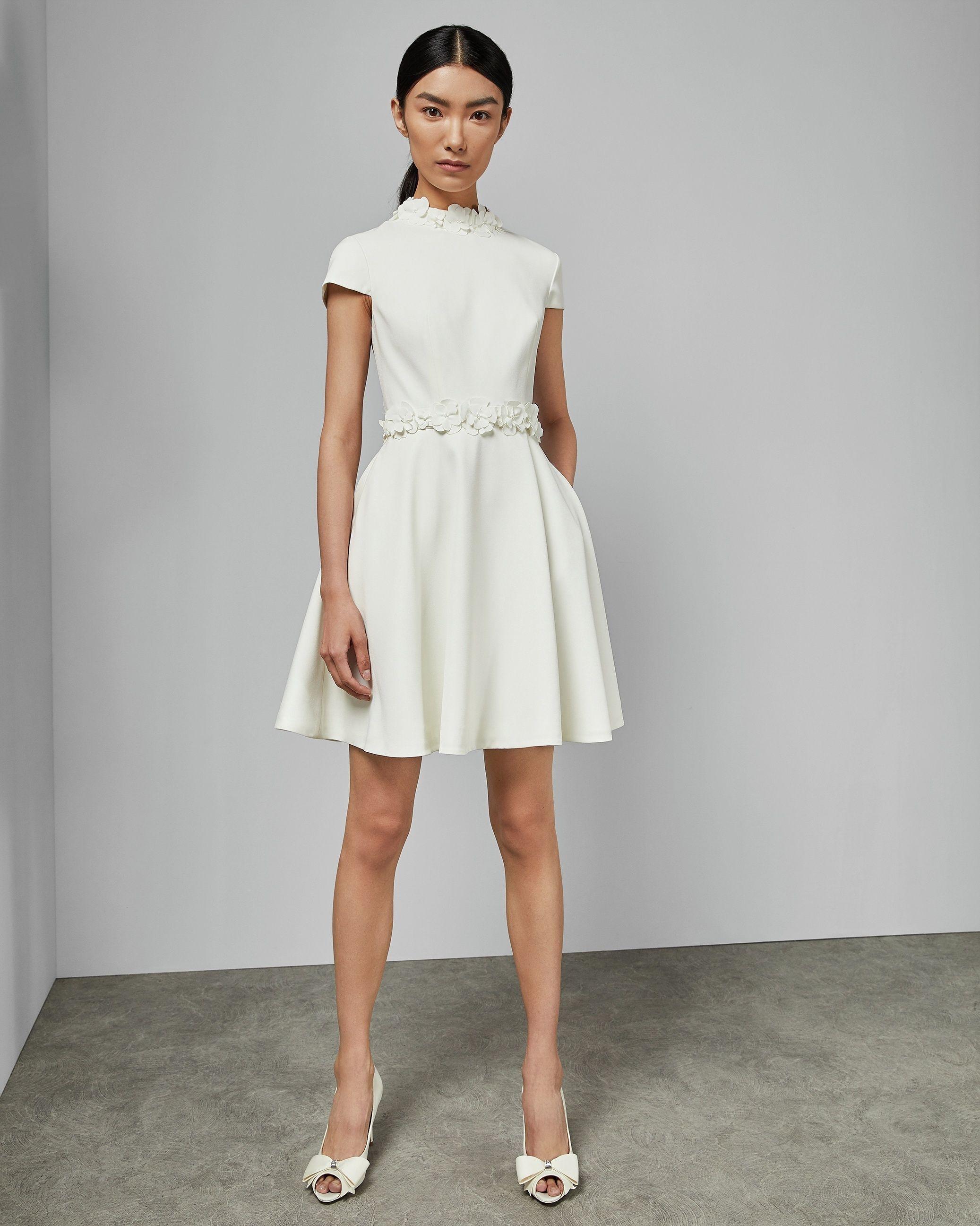 Ted Baker Elianah Floral Applique Skater Dress, White