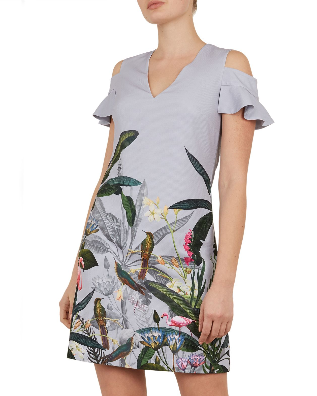 Ted Baker Emerry Pistachio Cold Shoulder Tunic in Light Grey