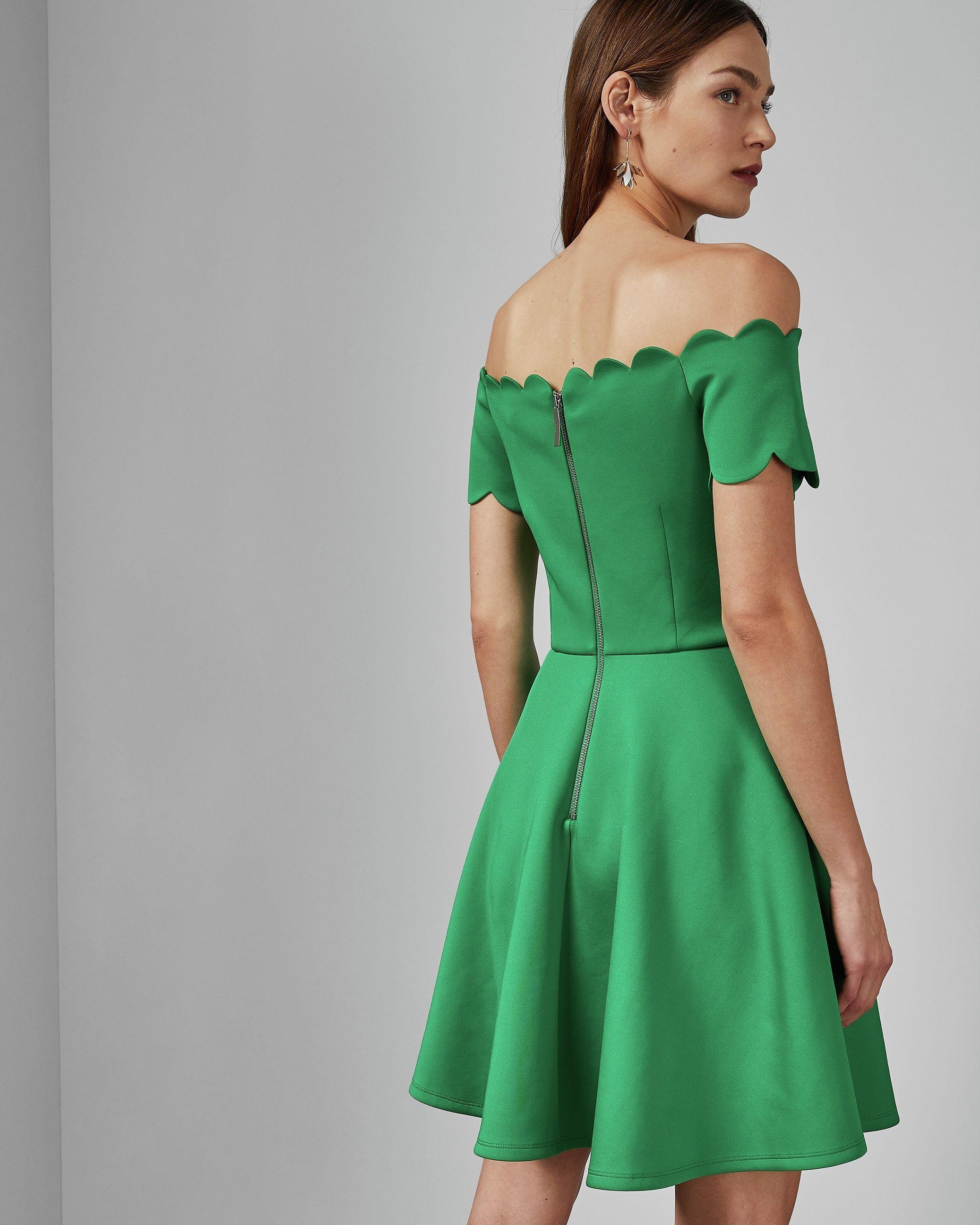 Ted Baker Fellama Bardot Scallop Skater Dress in Bright Green
