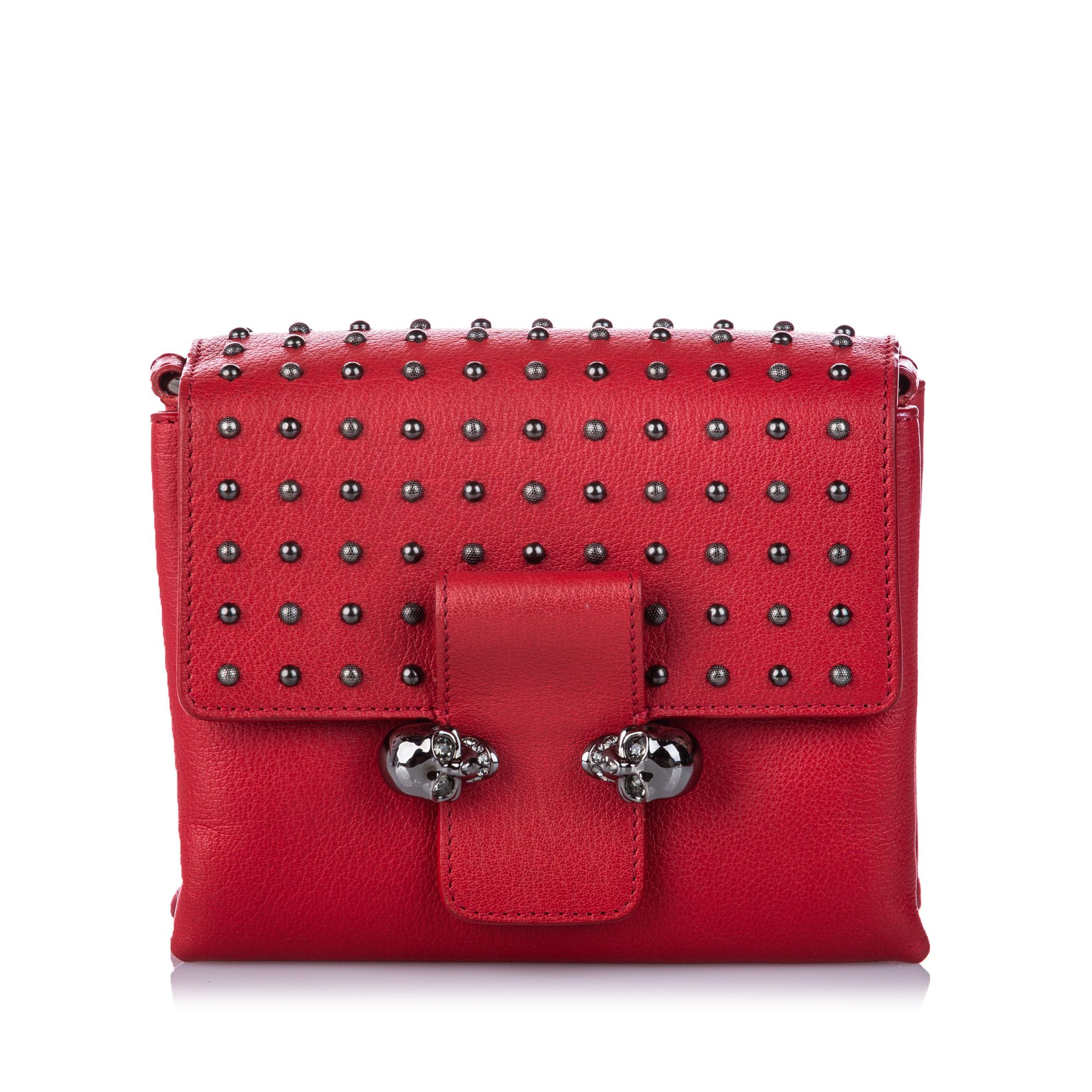 Vintage Alexander McQueen Studded Leather Twin Skull Crossbody Bag Red