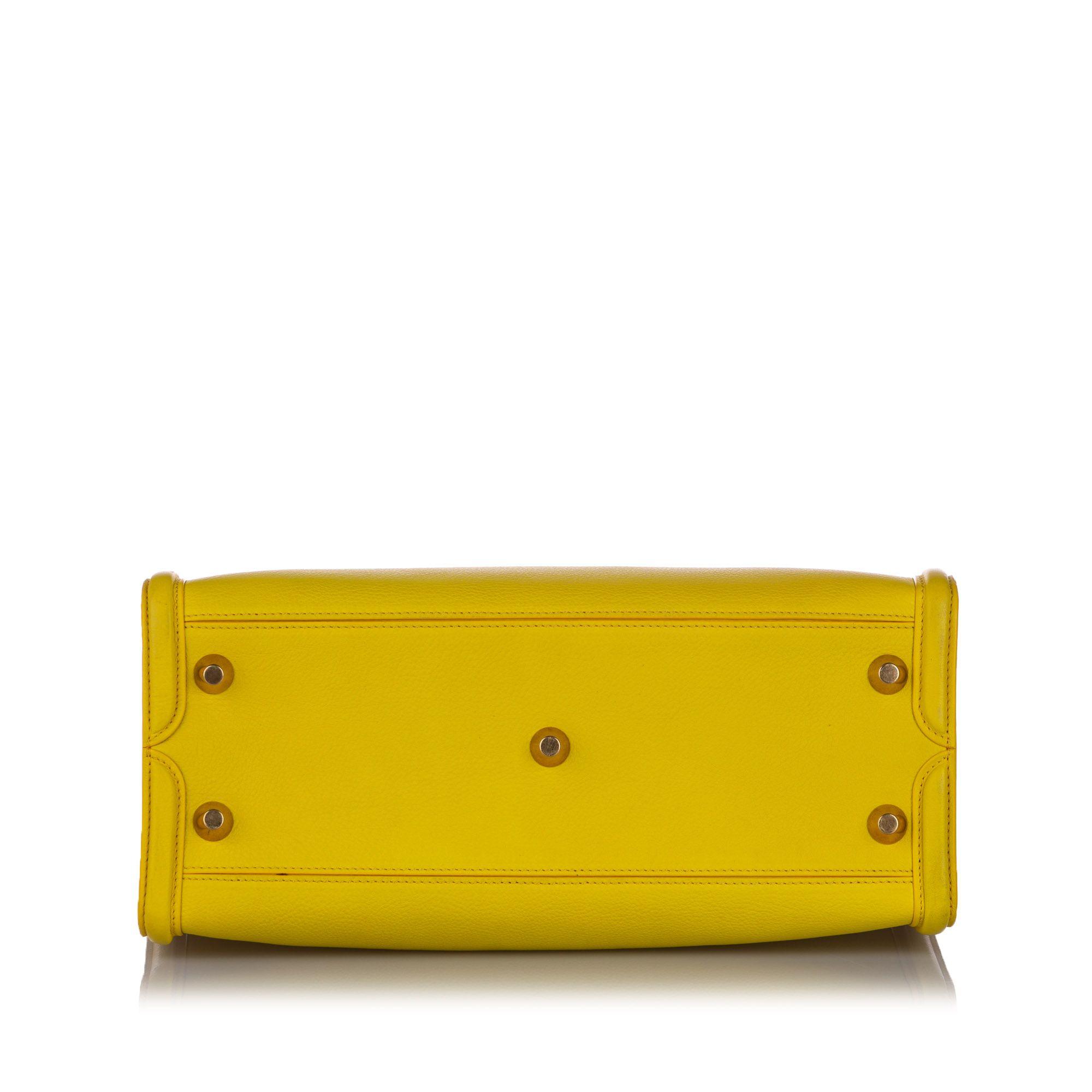 Vintage Alexander McQueen Leather Skull Padlock Tote Yellow