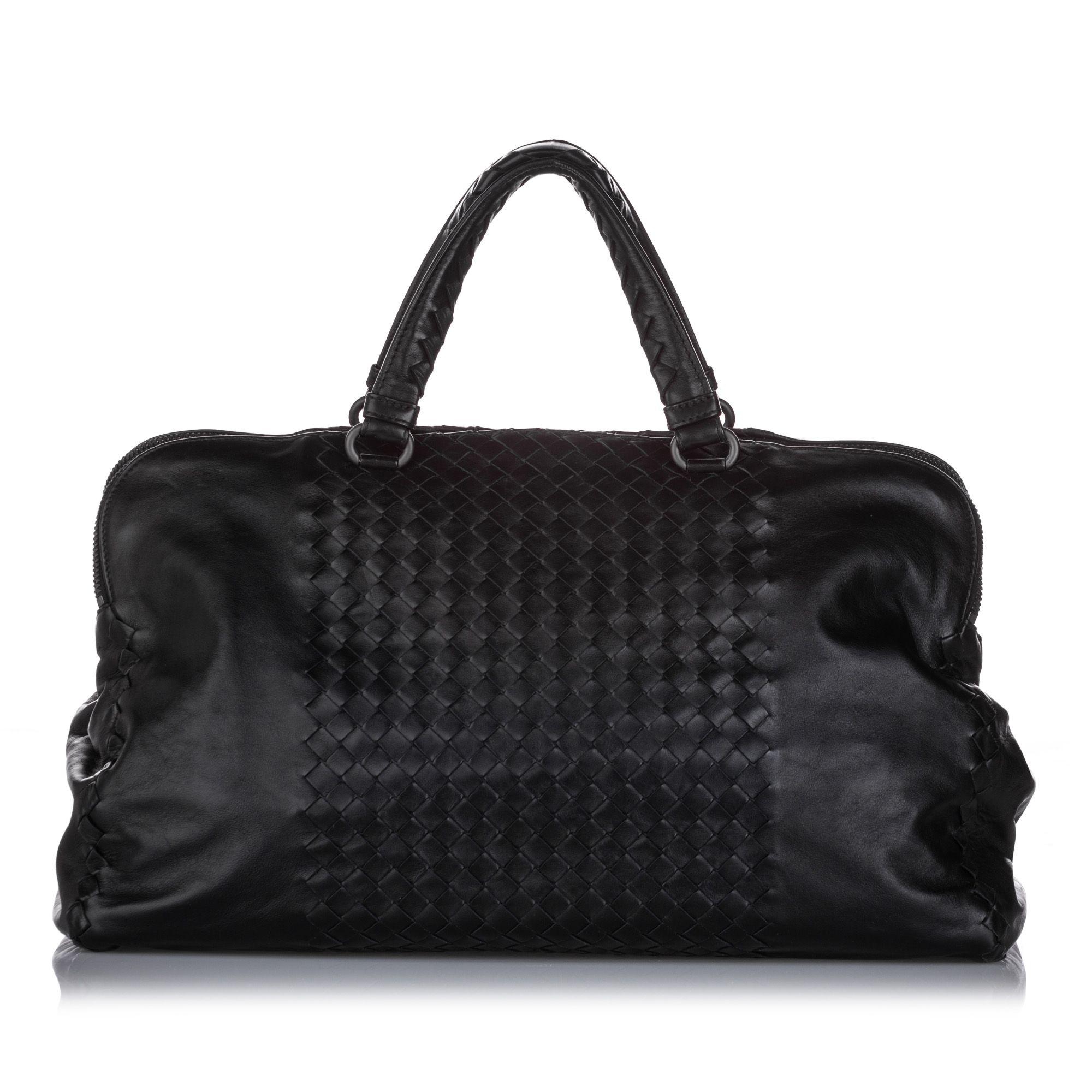 Vintage Bottega Veneta Intrecciato Nappa Leather Satchel Black