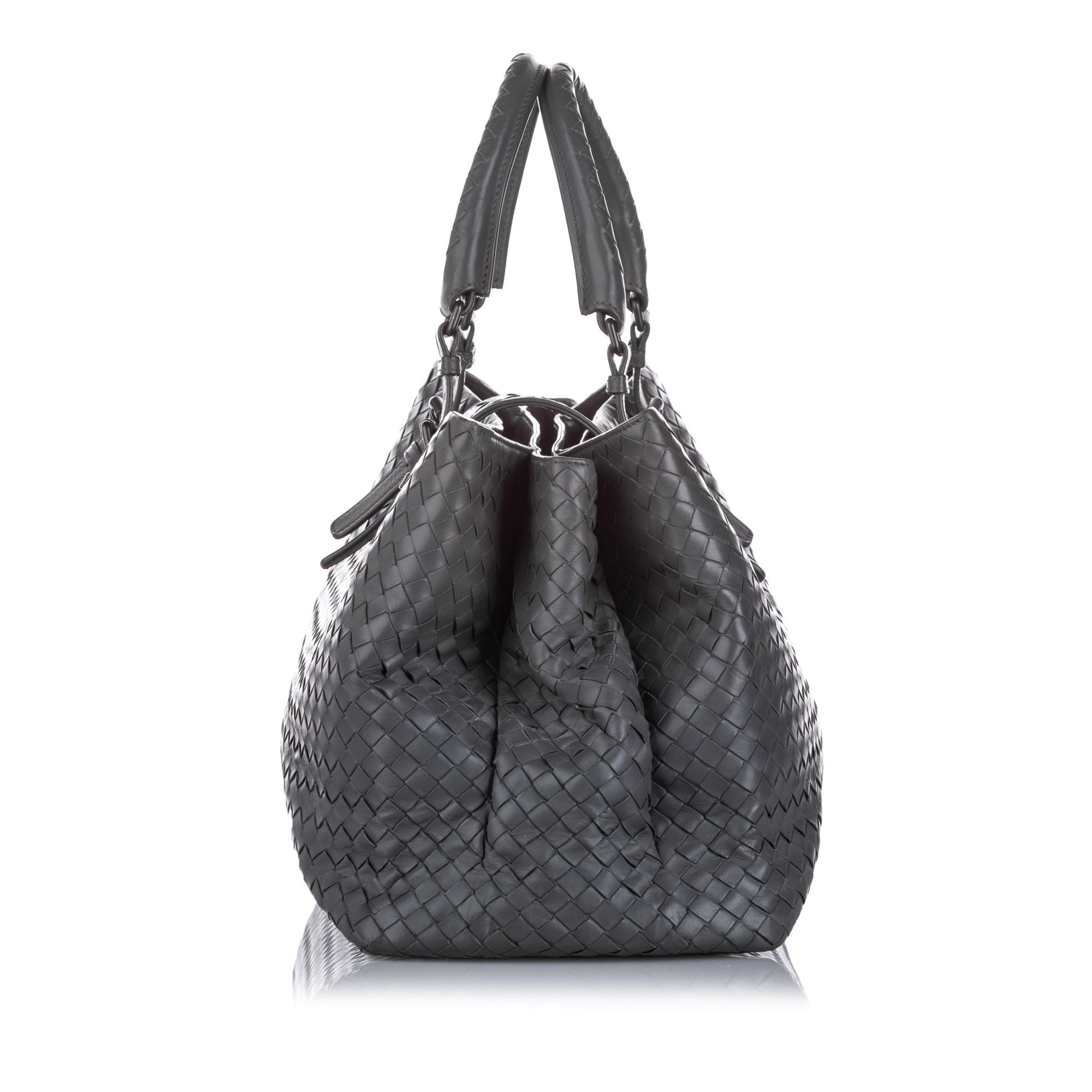 Vintage Bottega Veneta Large Roma Intrecciato Tote Bag Gray