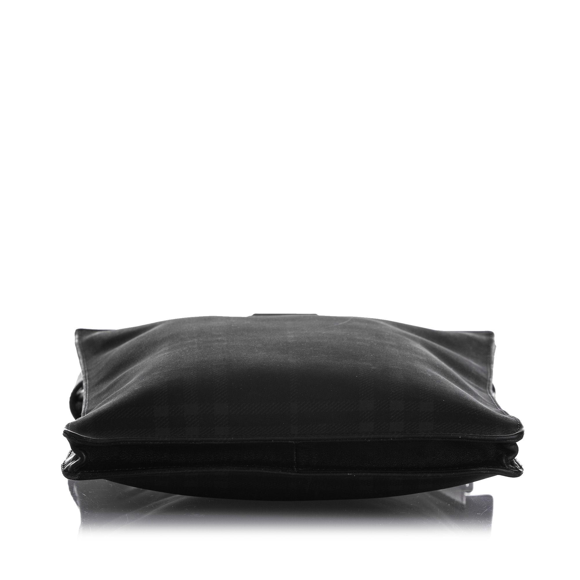 Vintage Burberry Plaid Leather Crossbody Bag Black