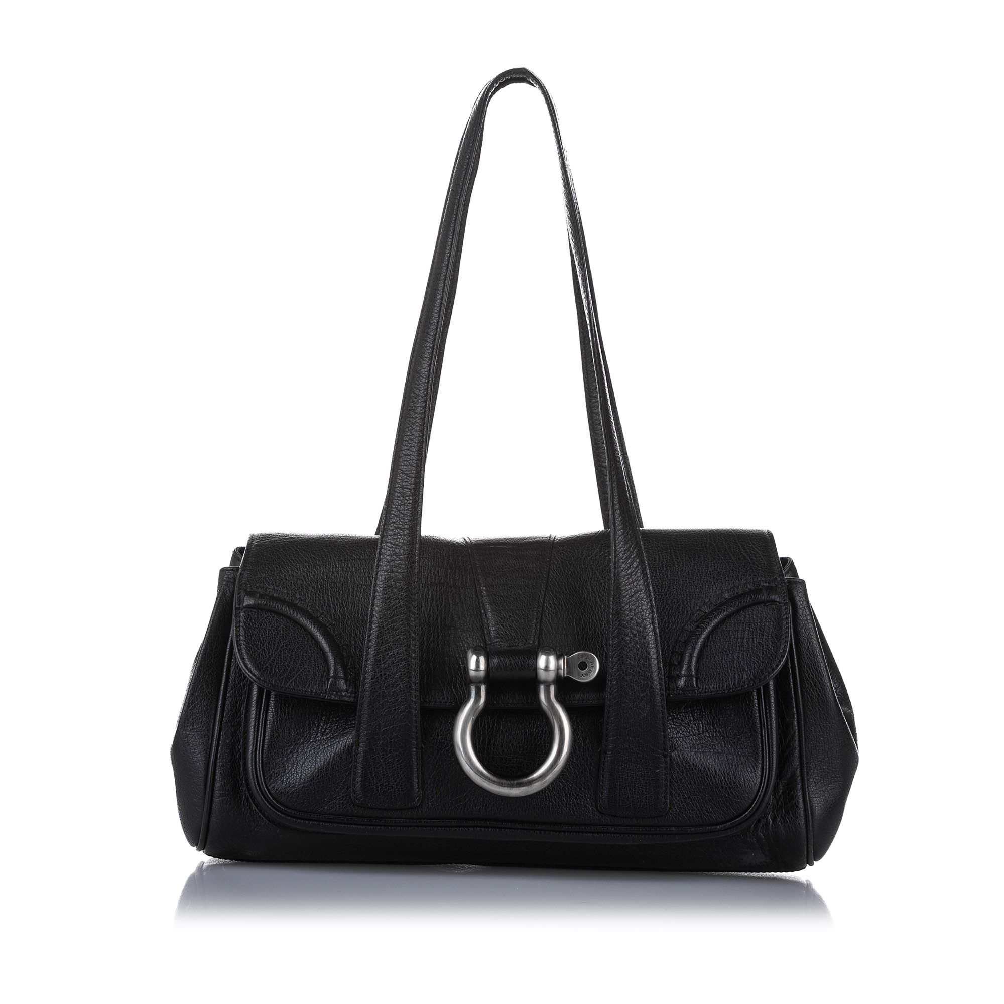 Vintage Burberry Leather Shoulder Bag Black