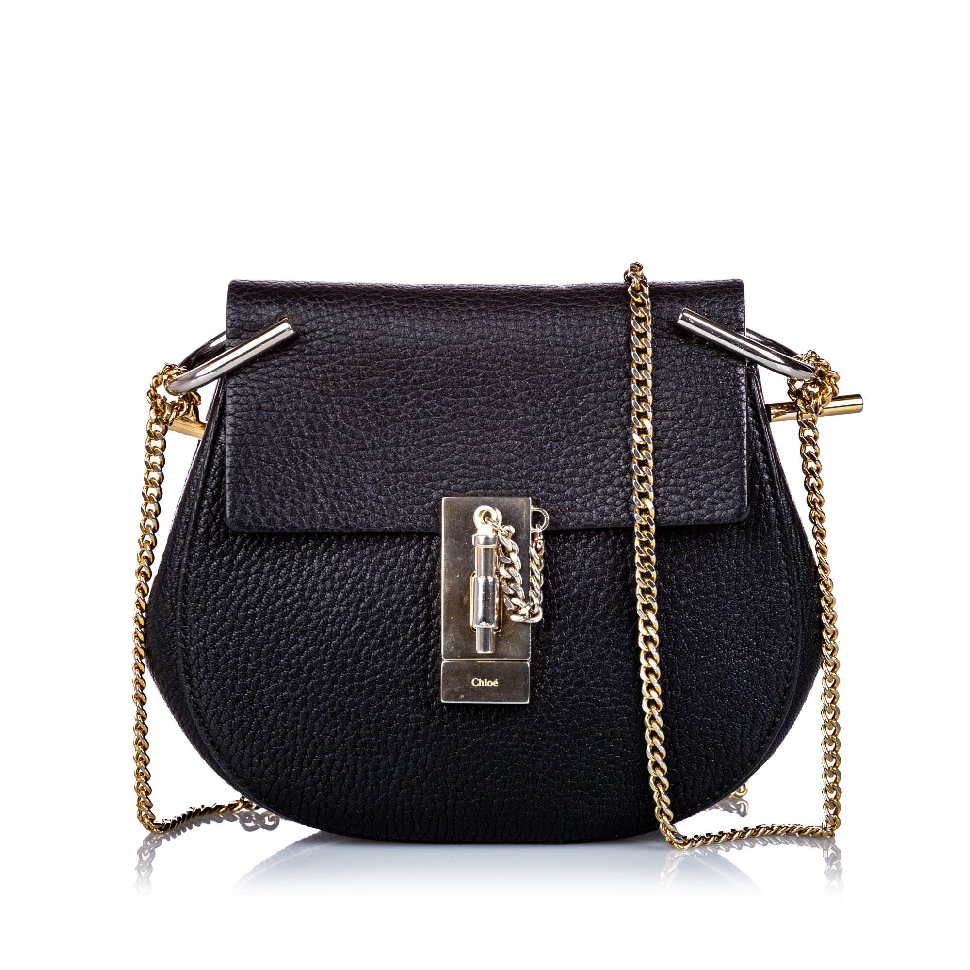 Vintage Chloe Small Grained Leather Drew Crossbody Bag Black
