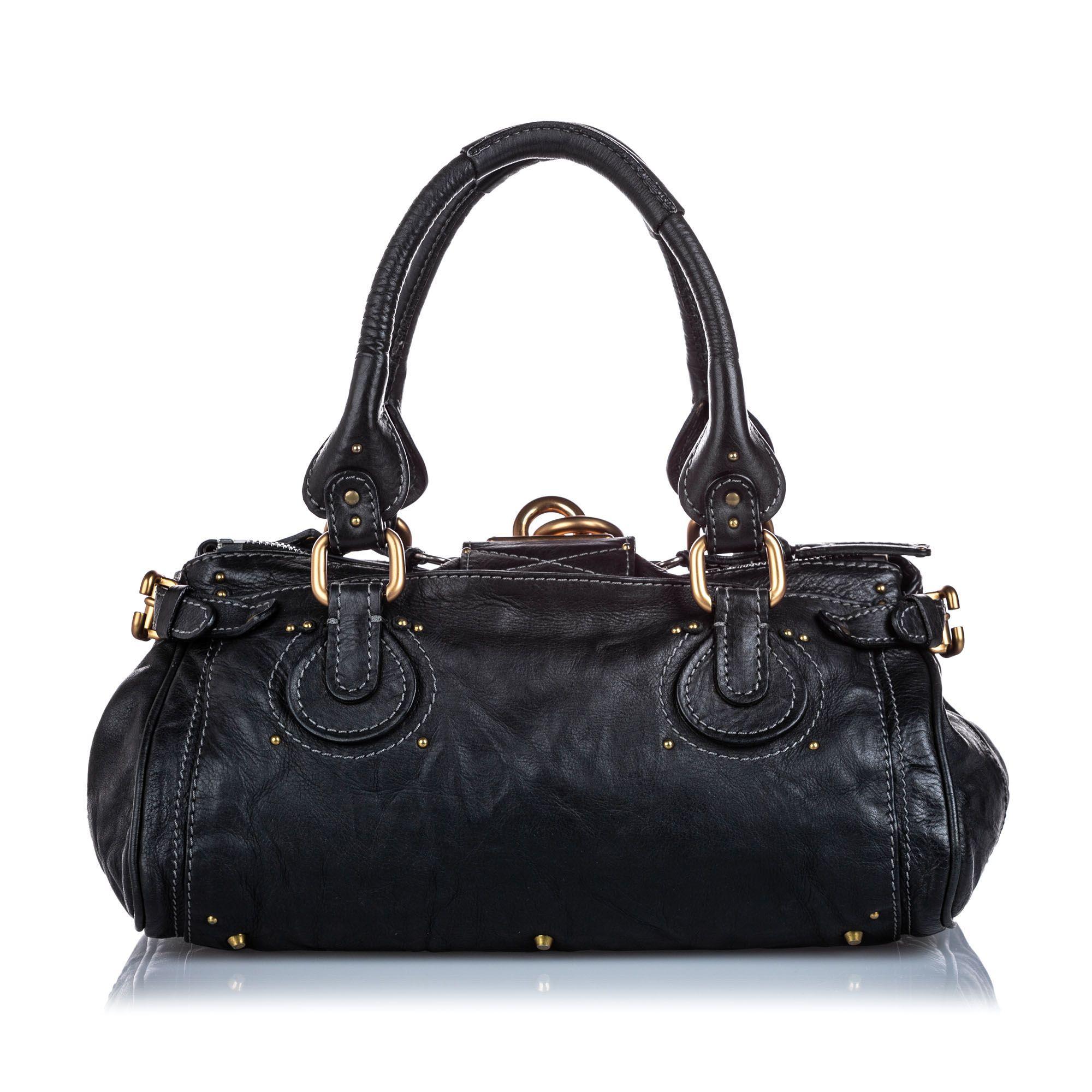 Vintage Chloe Leather Paddington Handbag Black